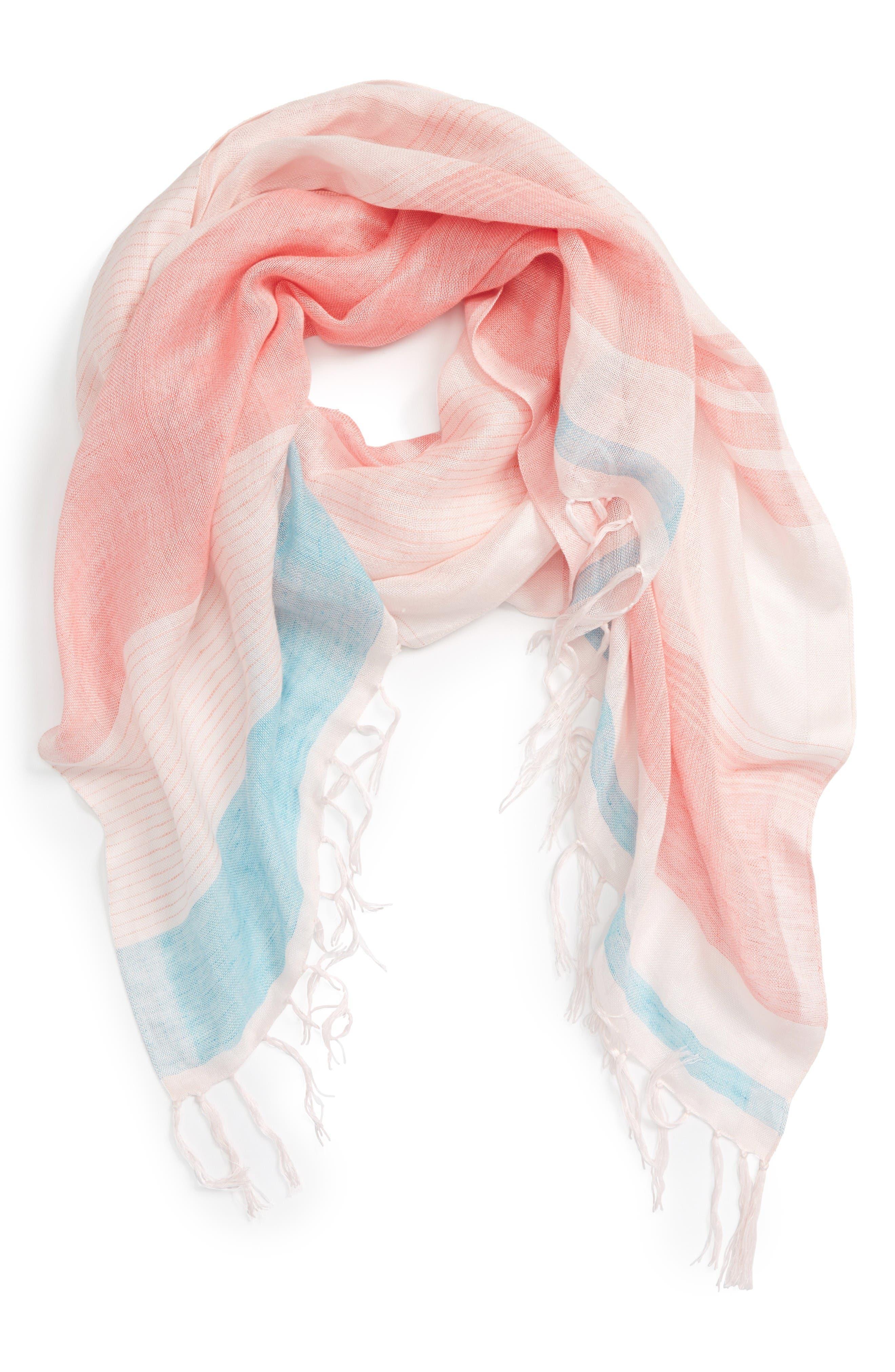 Main Image - Caslon® Stripe Linen Blend Scarf