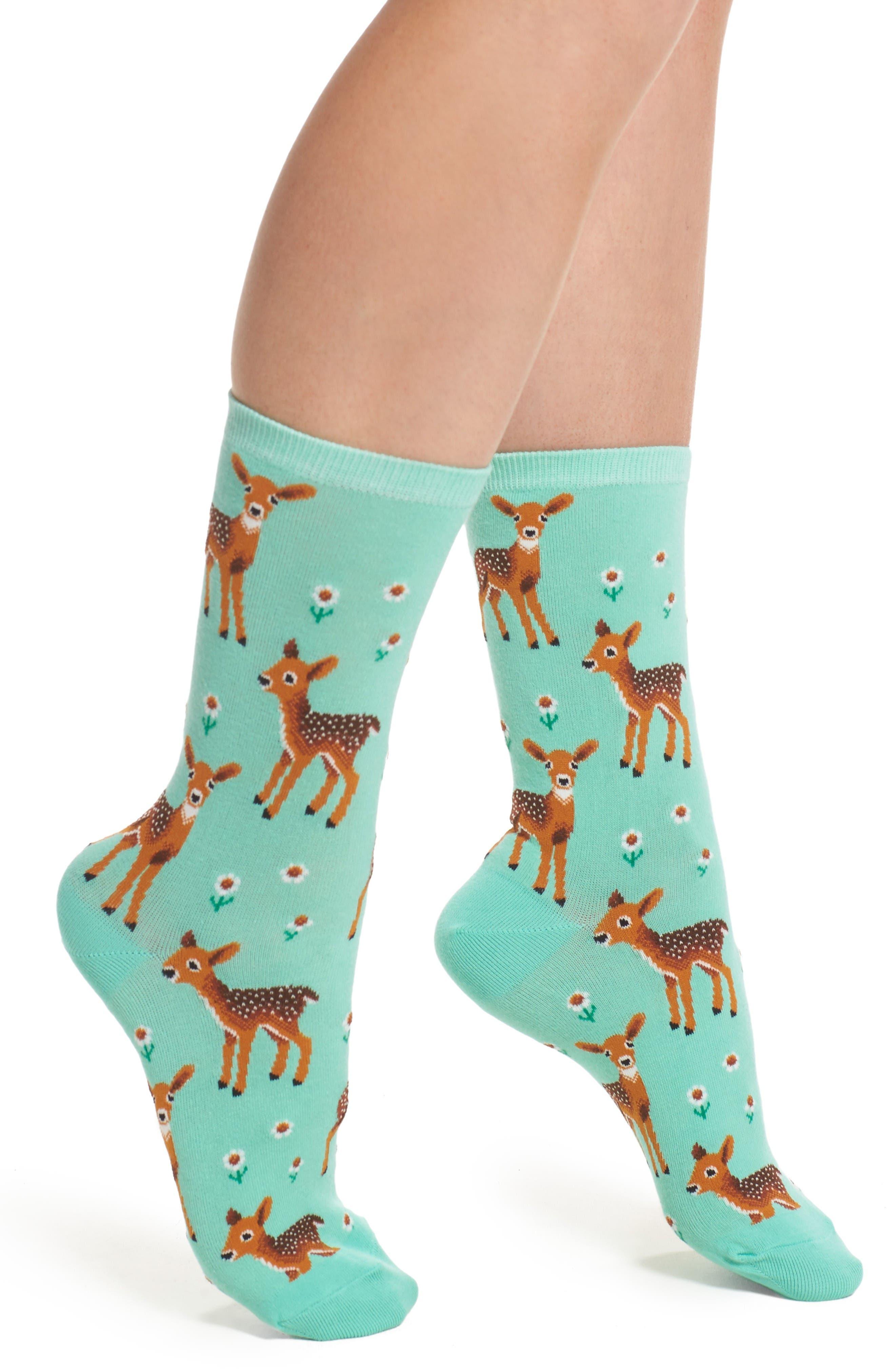 Alternate Image 1 Selected - Hot Sox Spring Deer Crew Socks (3 for $15)