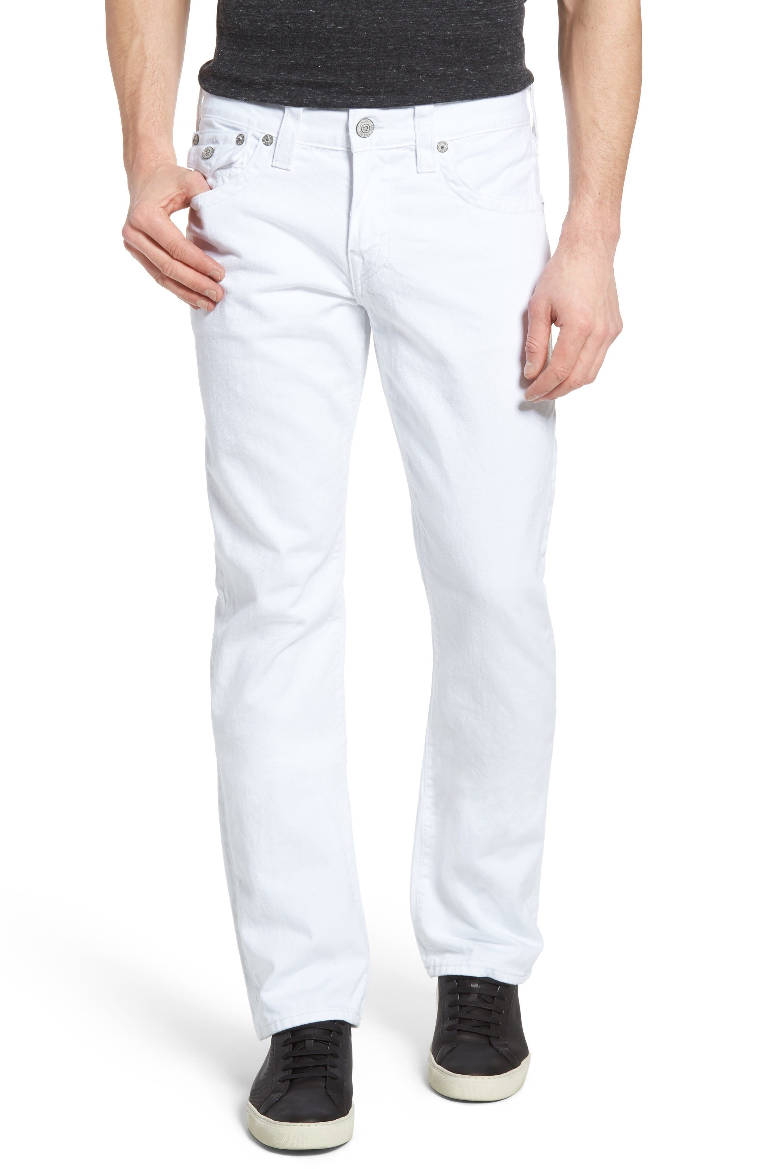 Alternate Image 1 Selected - True Religion Brand Jeans Ricky Relaxed Fit Jeans (Optic White) (Regular & Big)
