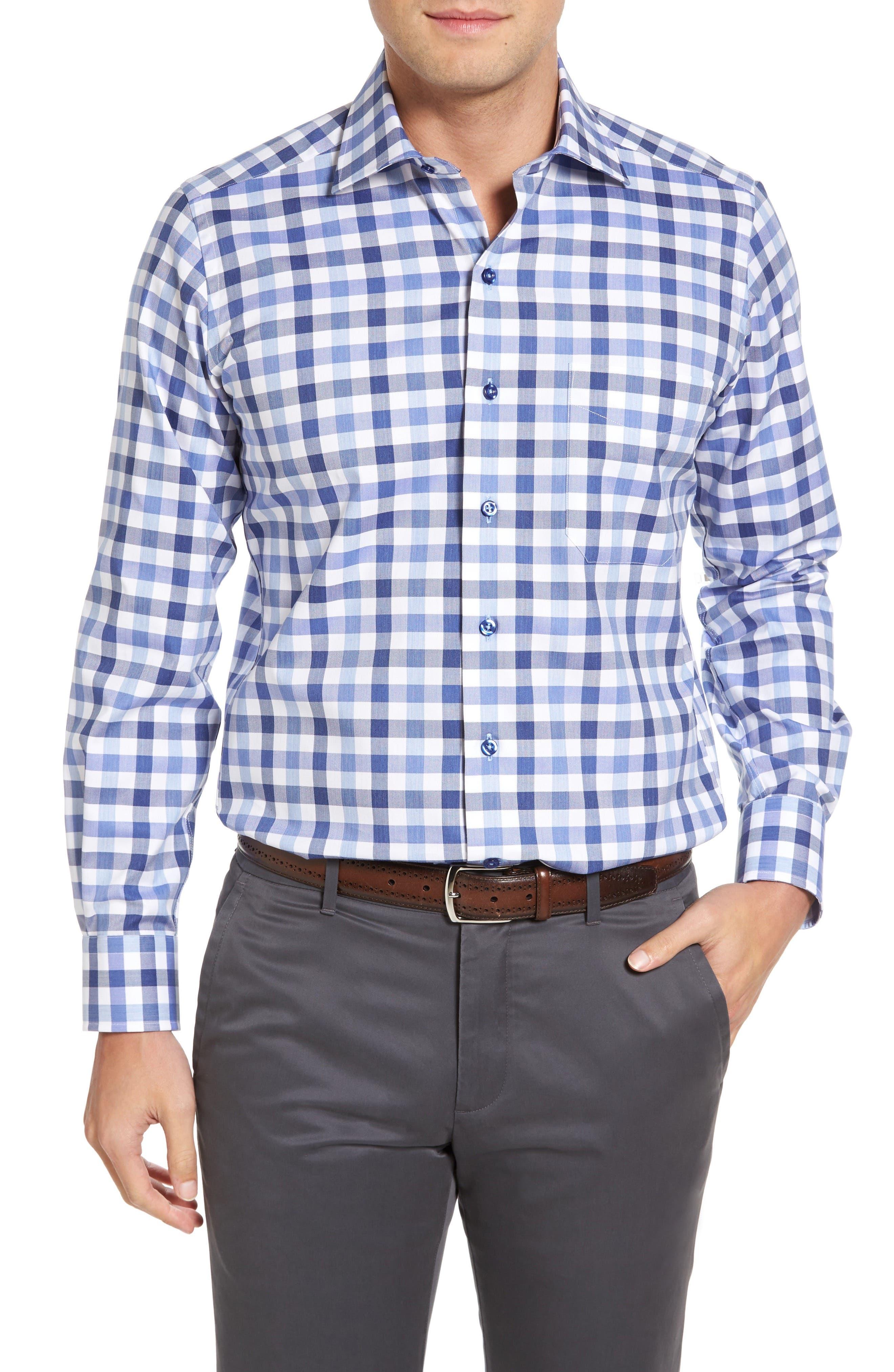 Alternate Image 1 Selected - David Donahue Regular Fit Check Sport Shirt