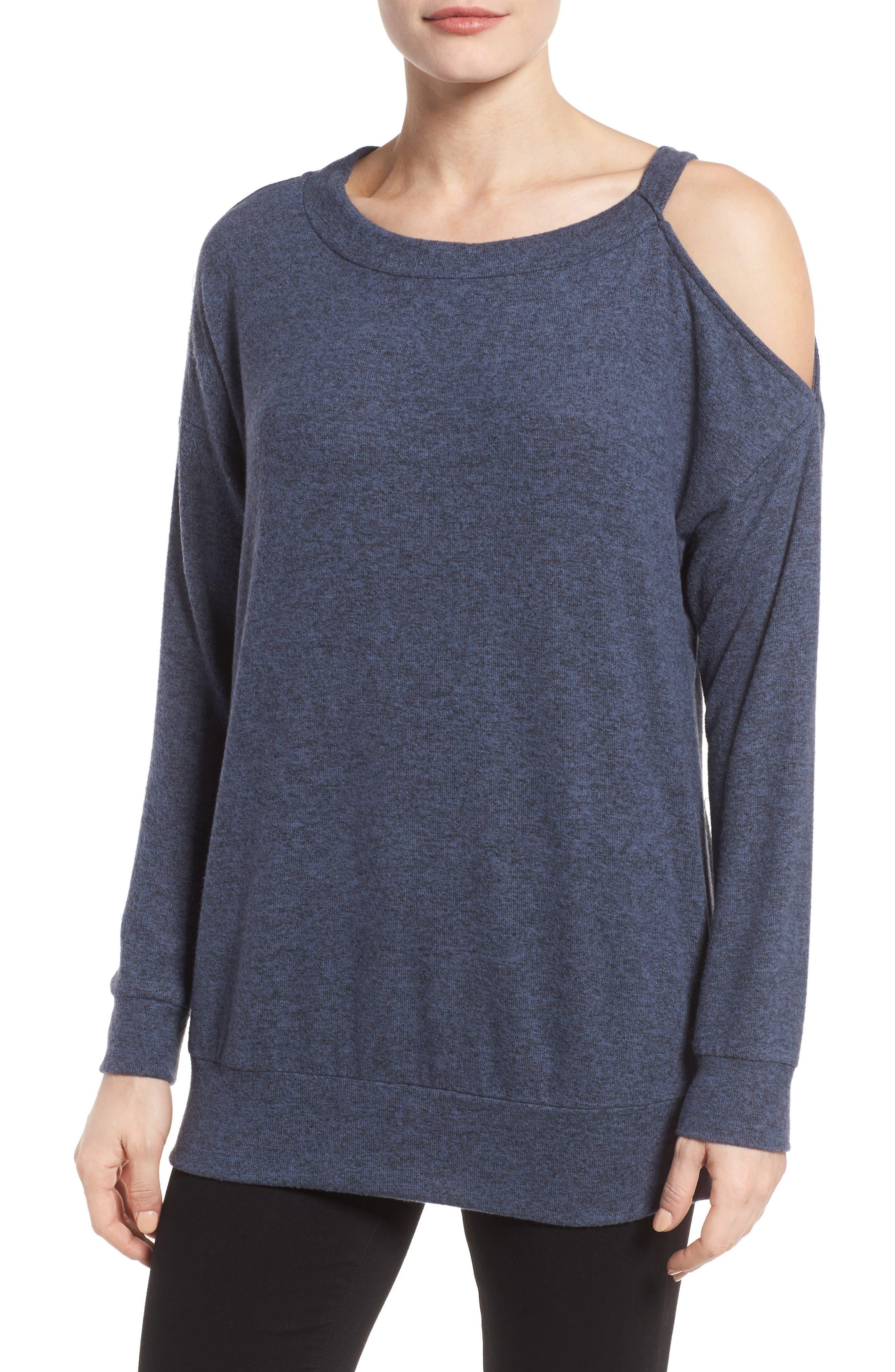GIBSON Open Shoulder Fleece Top