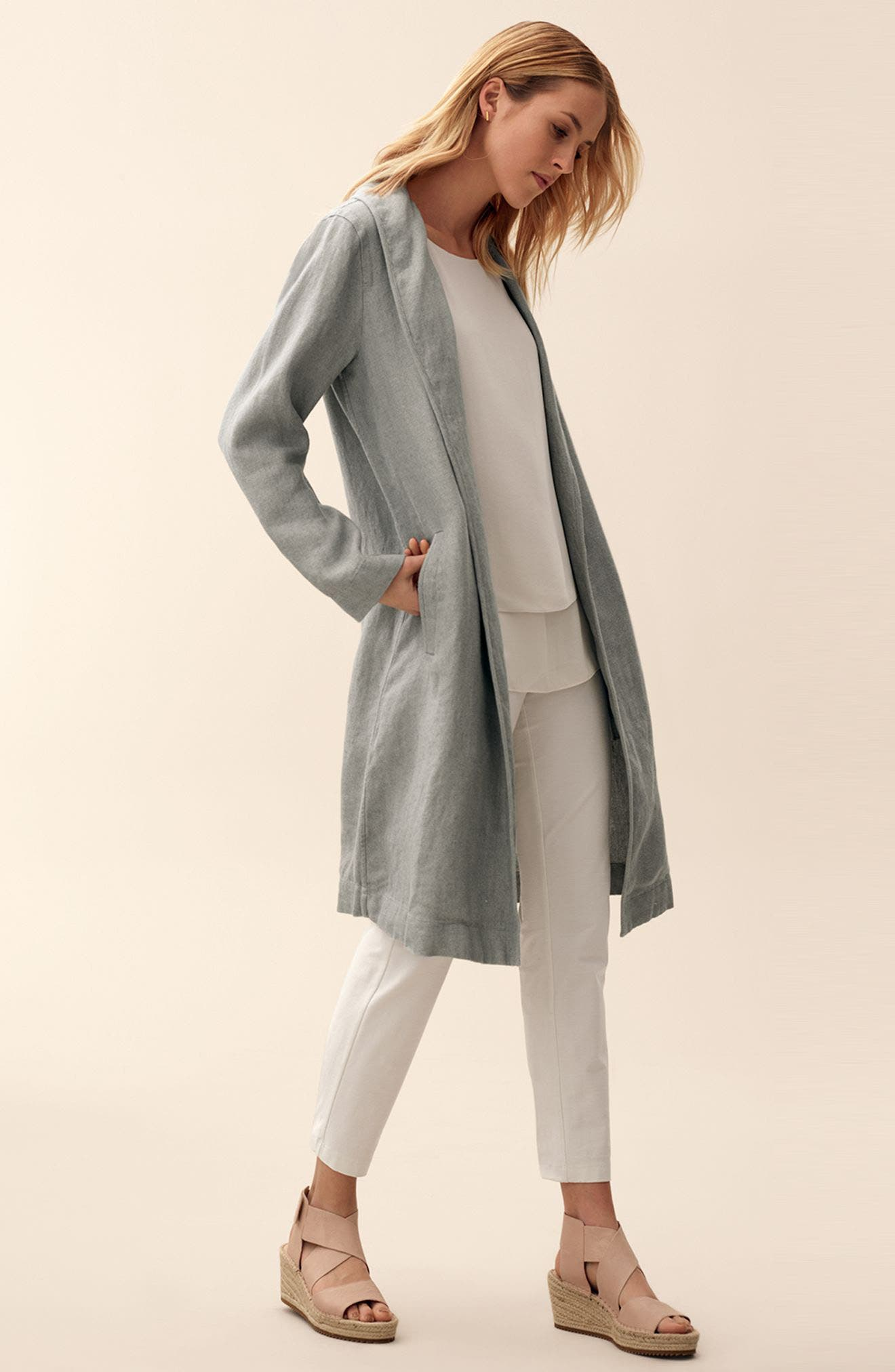 Eileen Fisher Jacket, Tank & Pants Outfit with Accessories