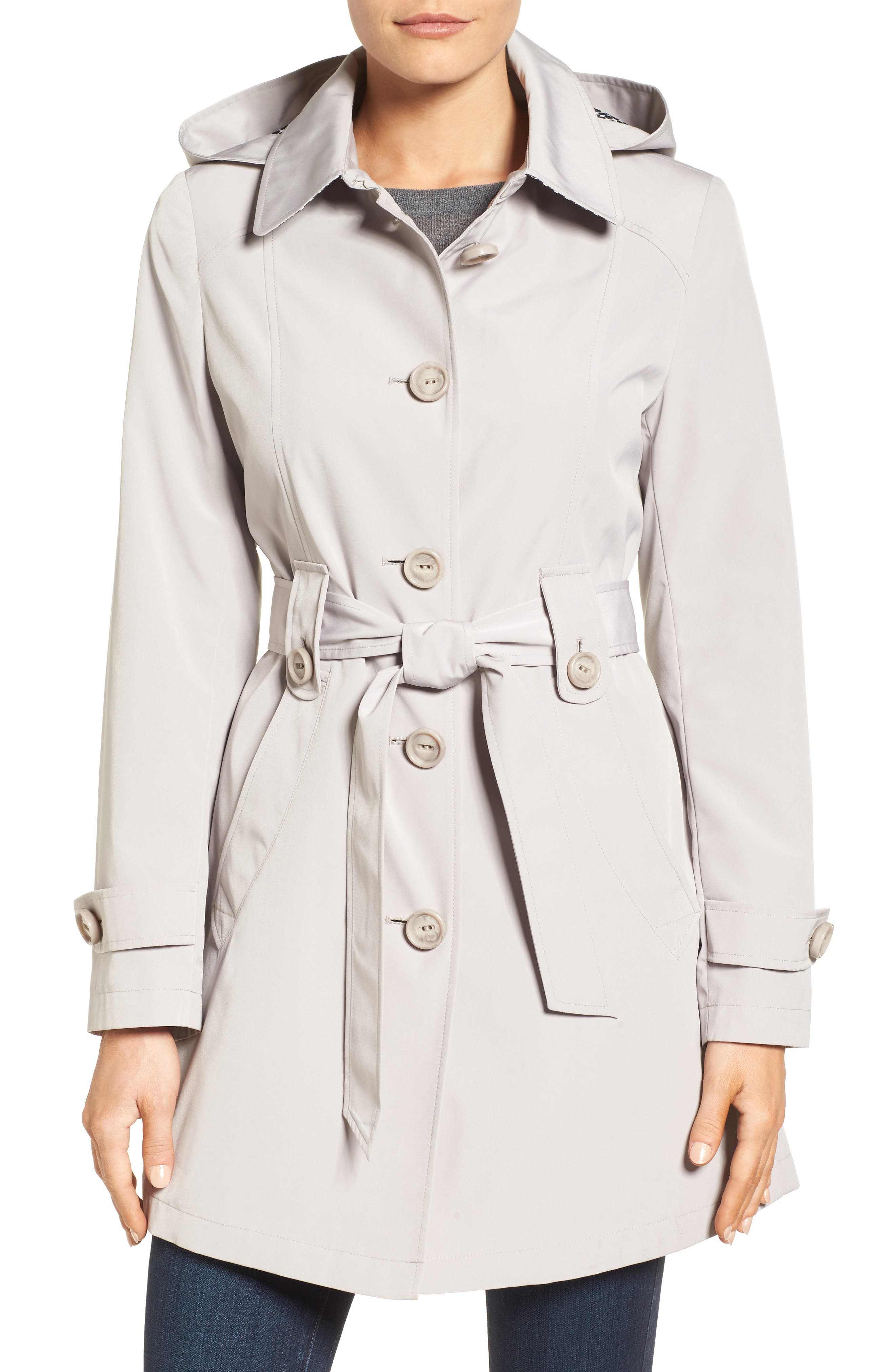 Gallery Silk Look Belted Trench Coat