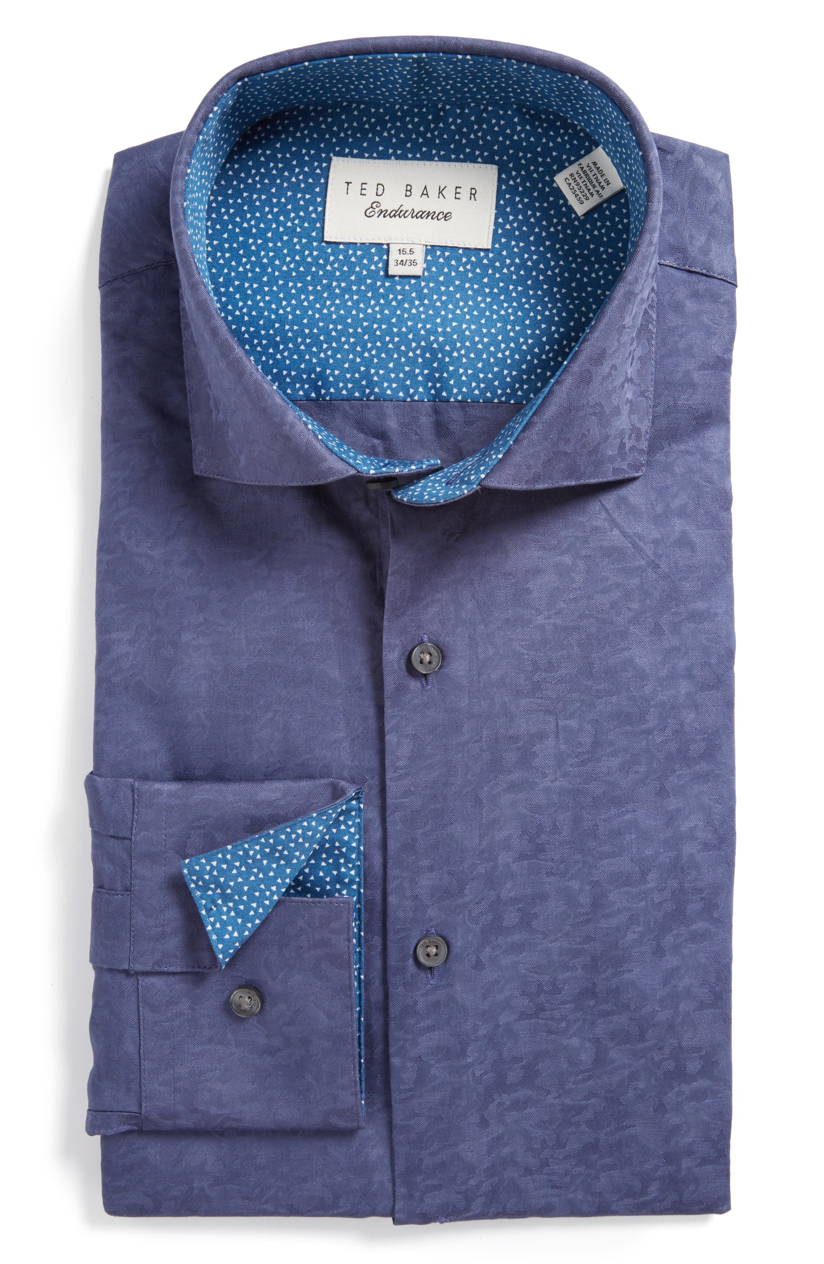 Ted Baker London Scooter Trim Fit Texture Dress Shirt