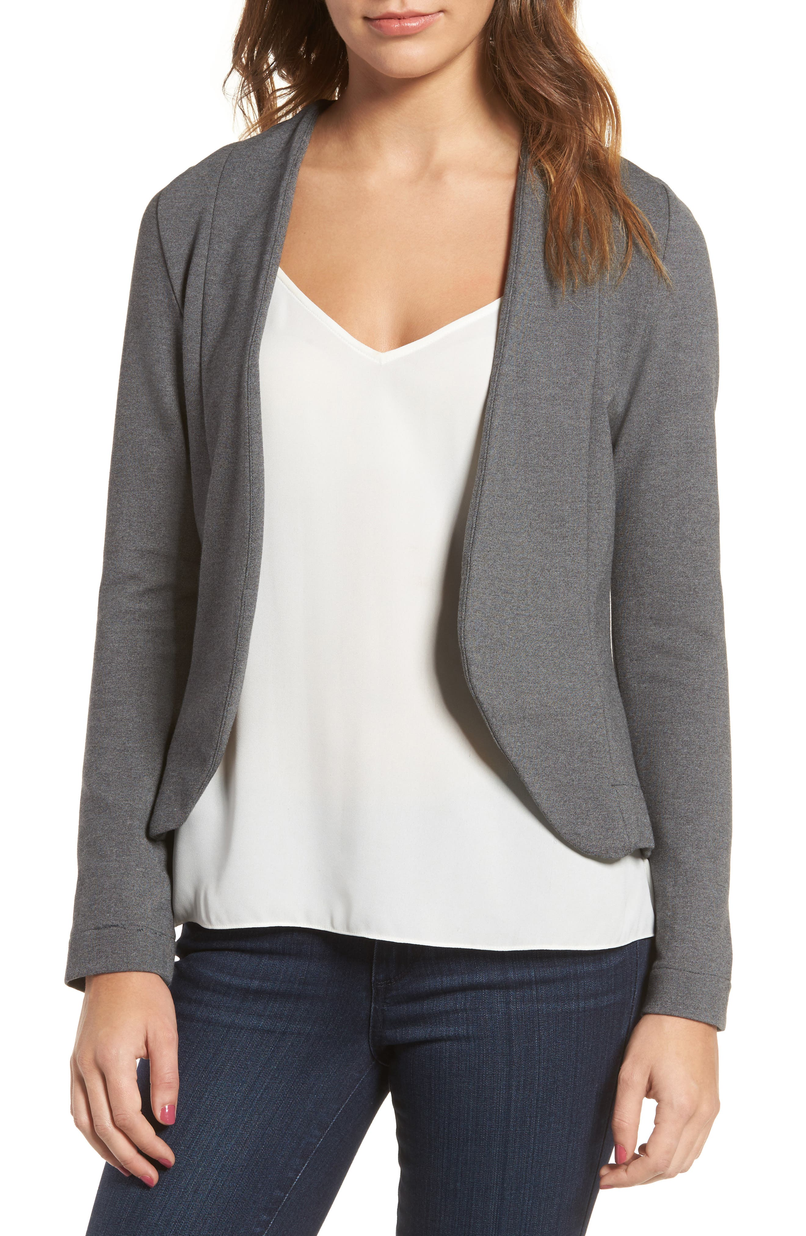Main Image - Amour Vert Shely Collarless Ponte Blazer