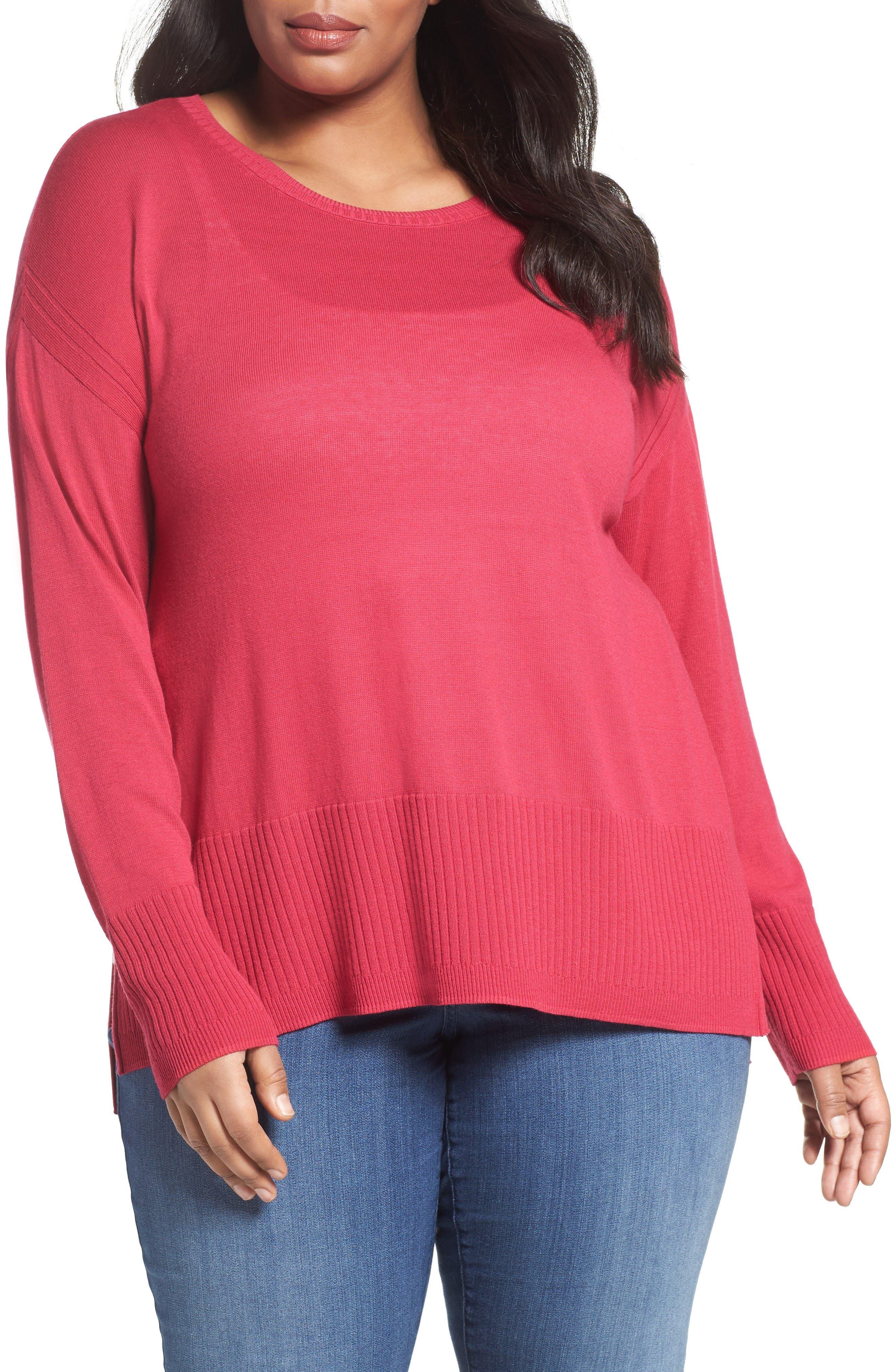 SEJOUR Cotton Blend Scoop Neck Sweater