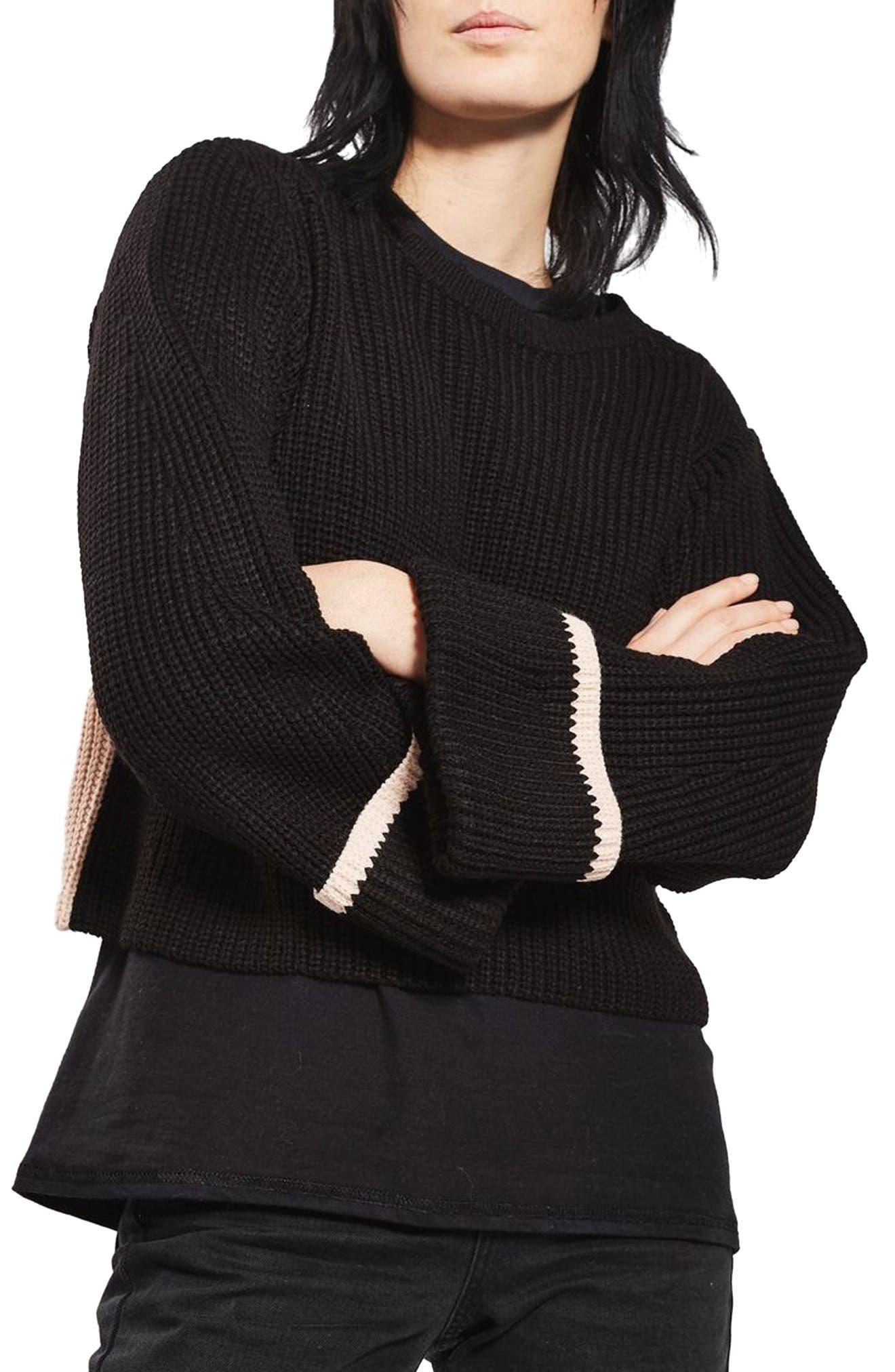 Alternate Image 1 Selected - Topshop Contrast Back Sweater