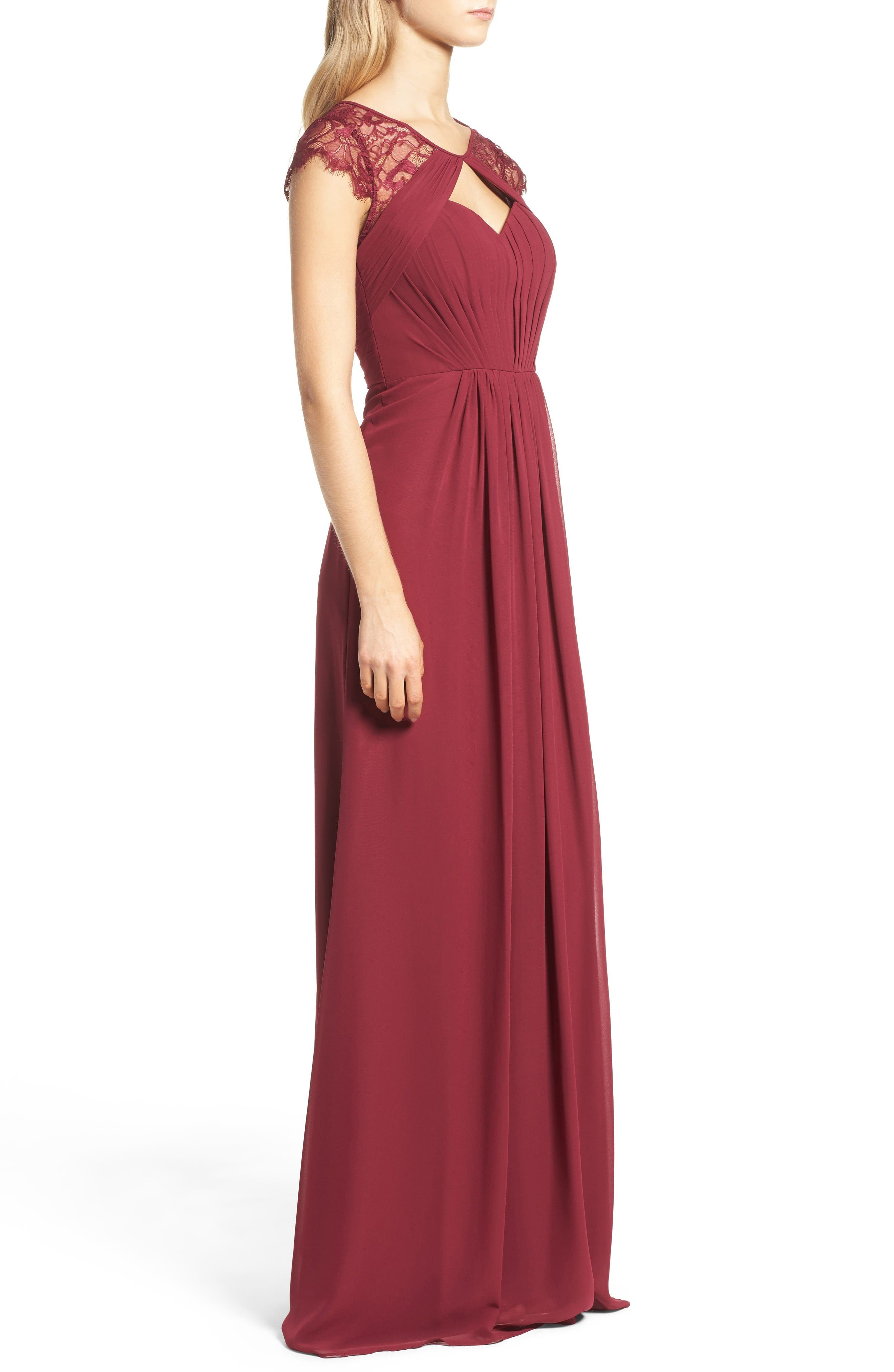 Alternate Image 3  - Hayley Paige Occasions Cap Sleeve Lace & Chiffon Gown