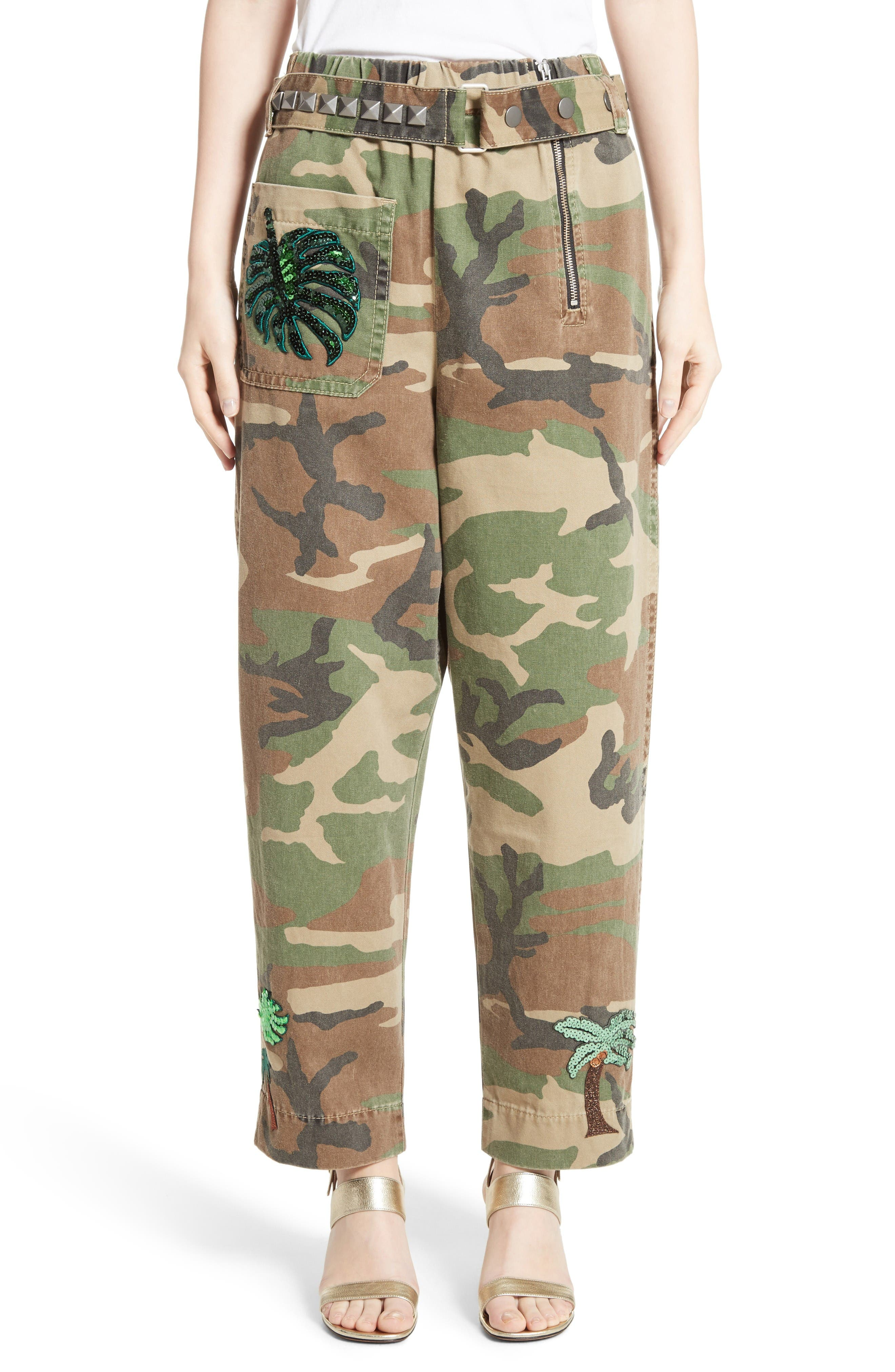 MARC JACOBS Camo Print Pants with Studded Belt