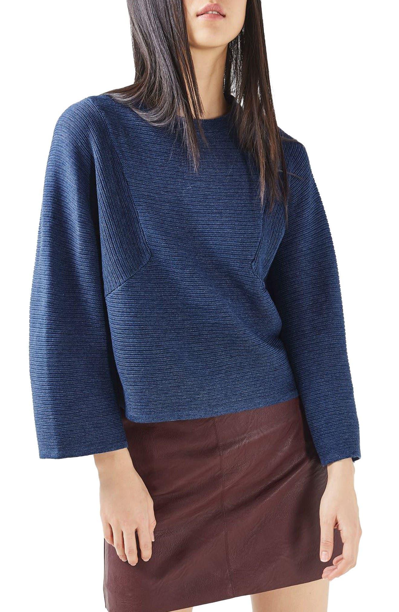 Alternate Image 1 Selected - Topshop Diamond Kimono Sleeve Sweater
