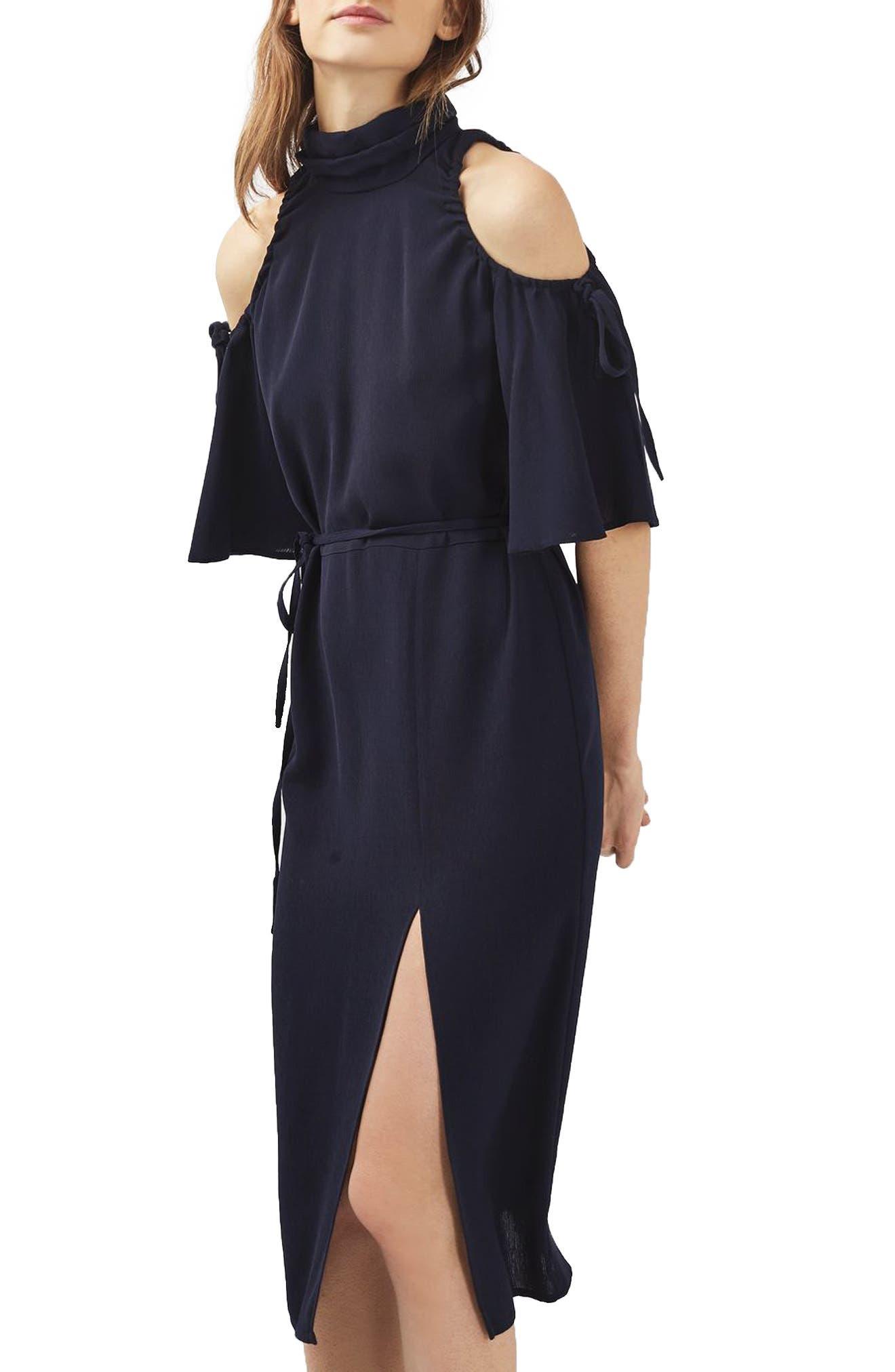 Main Image - Topshop High Neck Cold Shoulder Dress