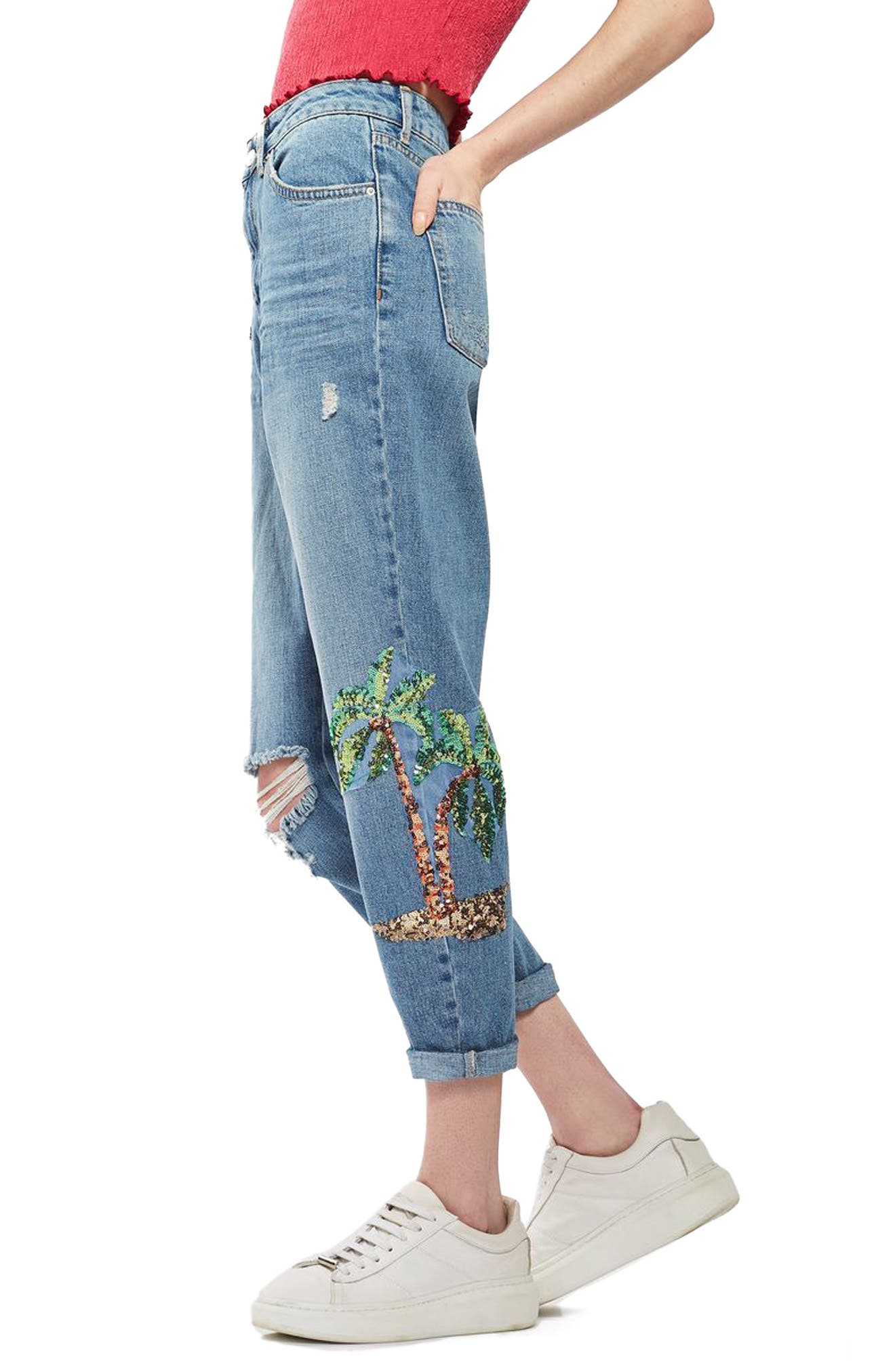 Alternate Image 3  - Topshop Distressed Sequin Mom Jeans