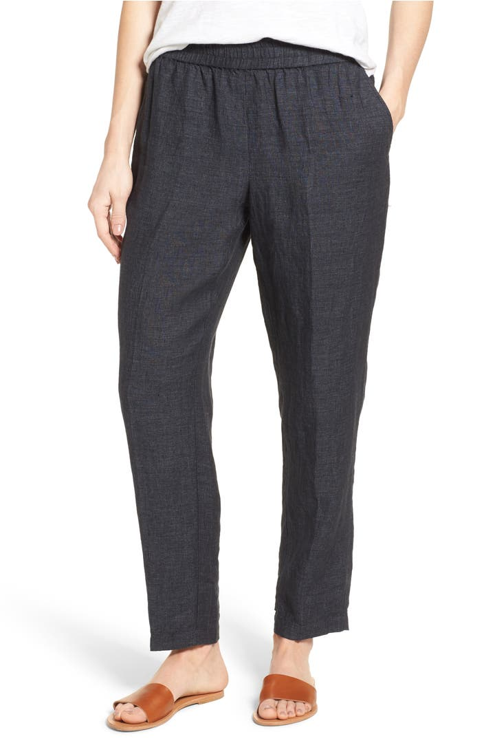 Eileen Fisher Tapered Organic Linen Tapered Pants Regular