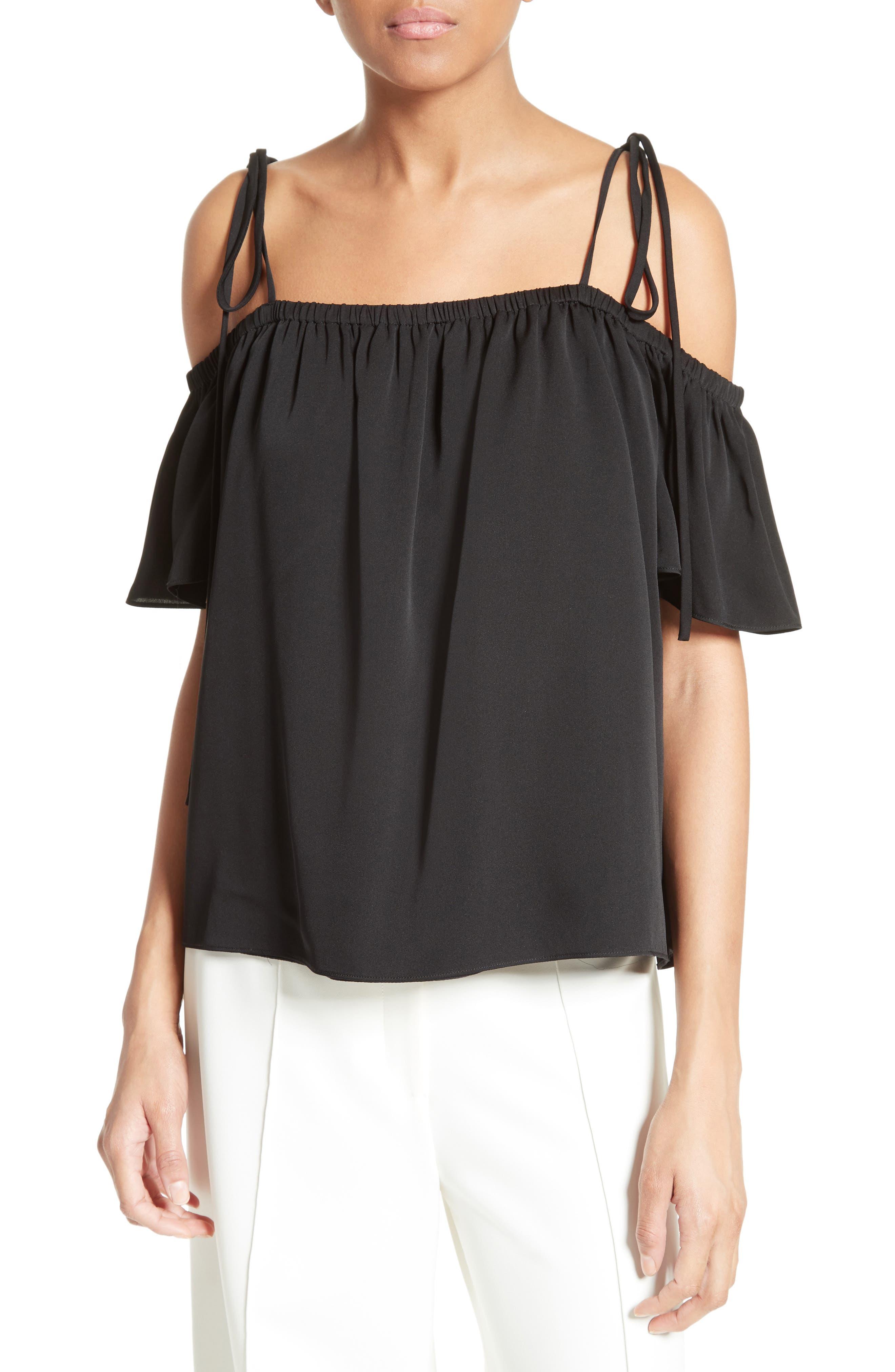 Milly Eden Off the Shoulder Stretch Silk Top