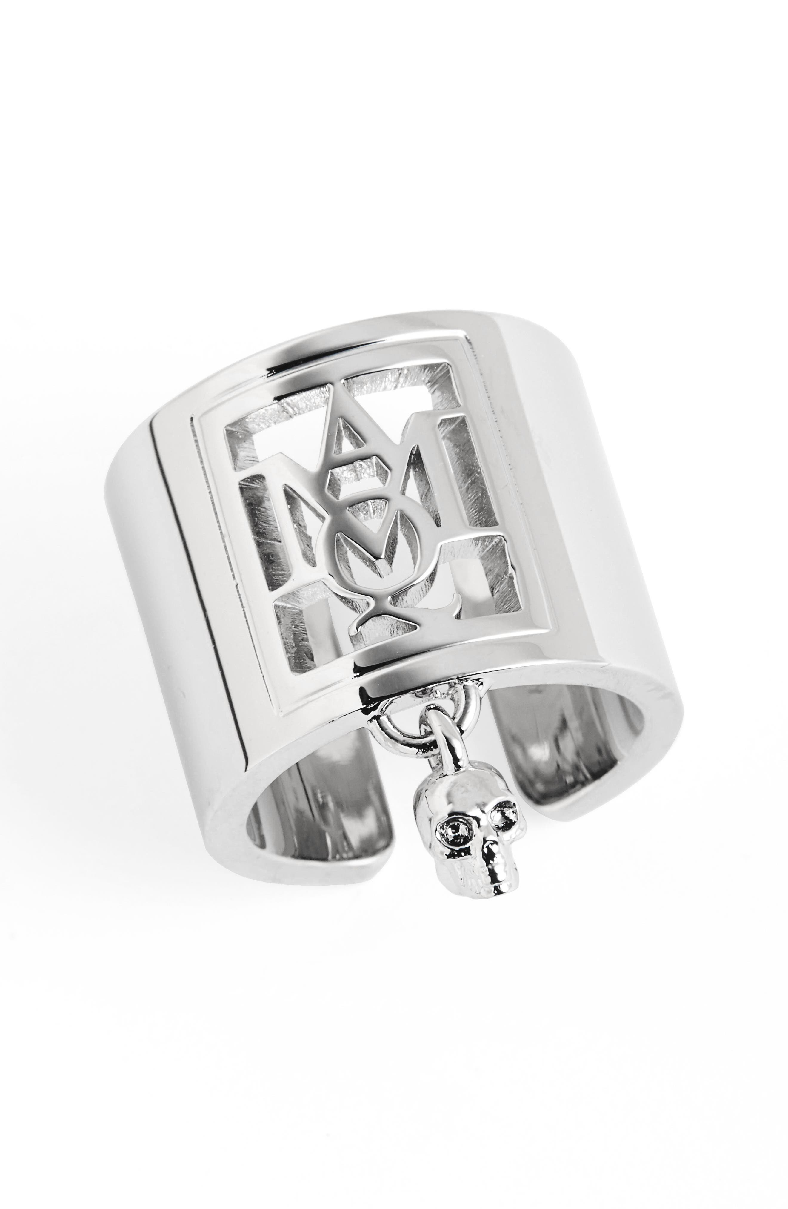 Alternate Image 1 Selected - Alexander McQueen Silver Monogram Ring