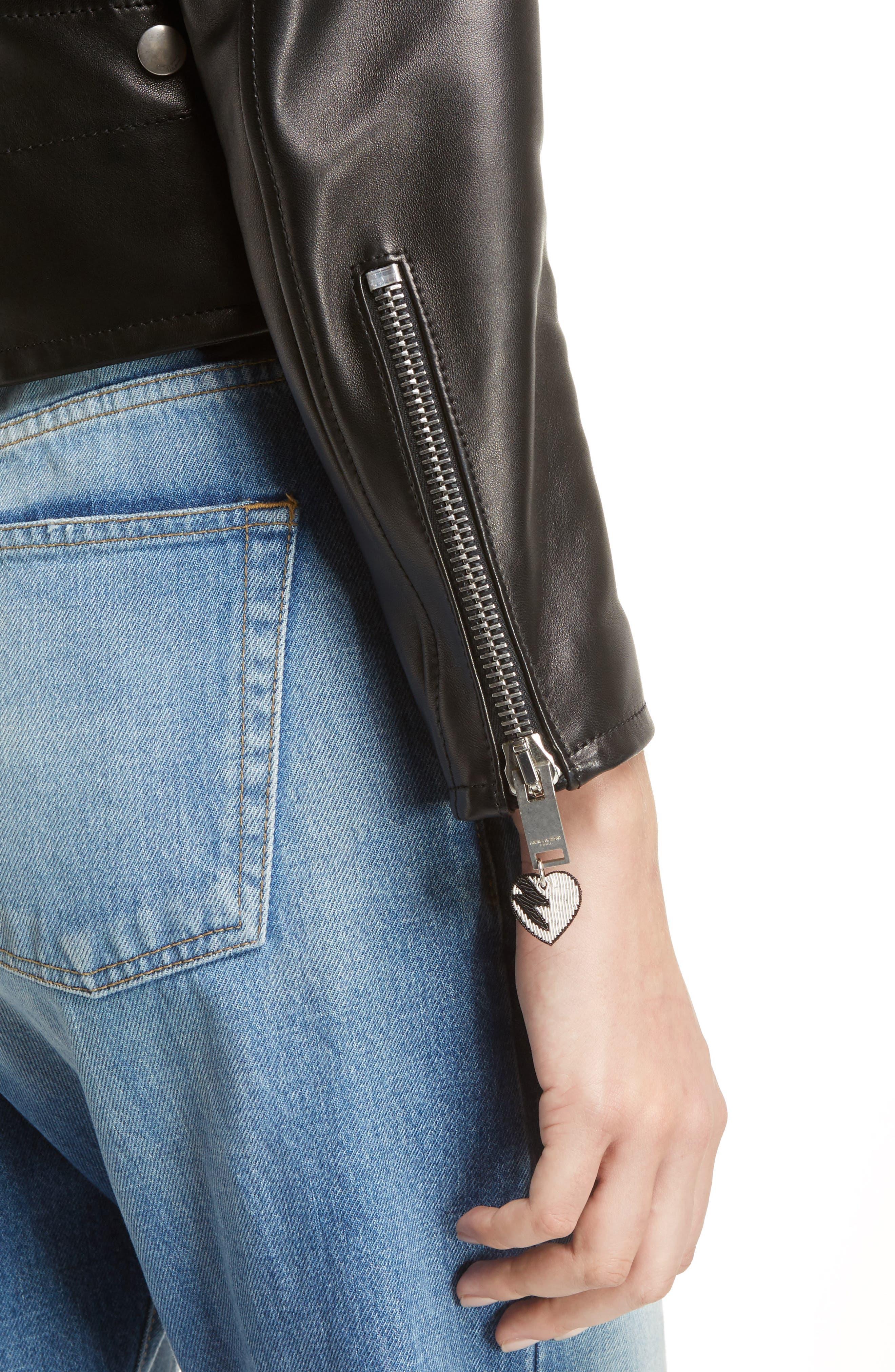 Alternate Image 6  - Saint Laurent YSL Logo Classic Leather Moto Jacket