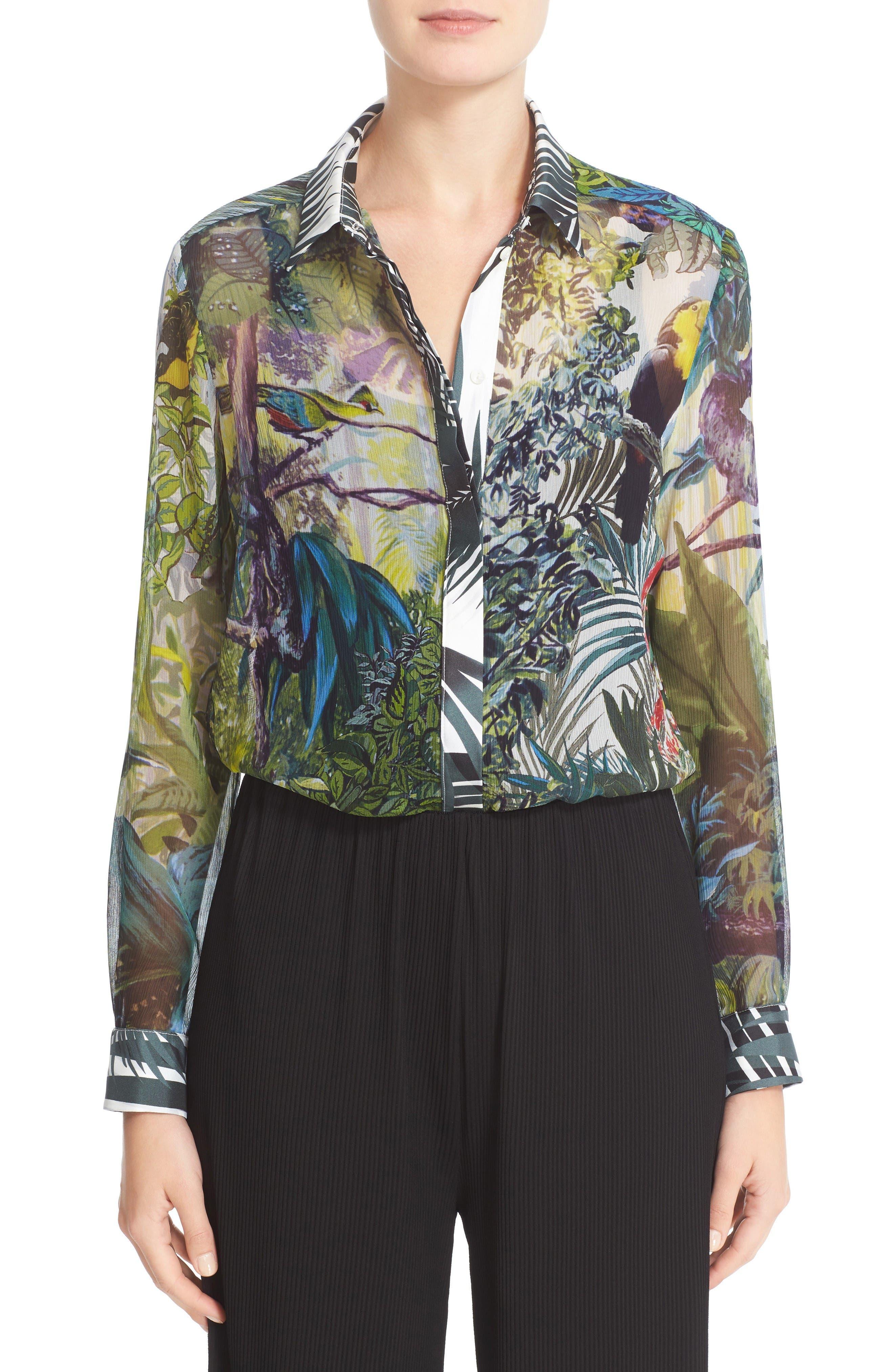 MAX MARA Gufo Tropicala Print Silk Blouse
