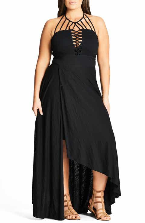 City Chic Strappy Asymmetrical Faux Wrap Halter Maxi Dress (Plus Size)