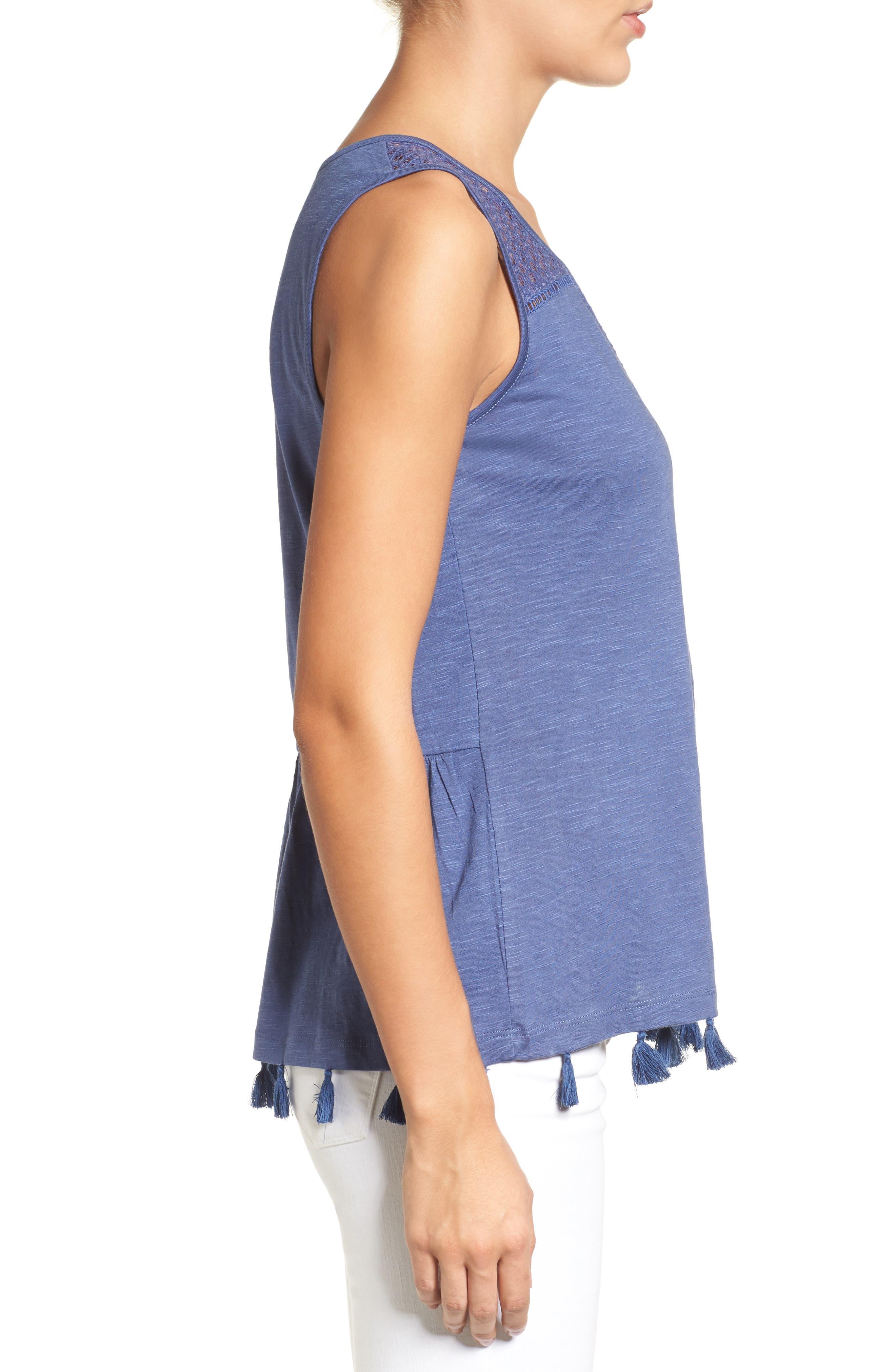 Alternate Image 3  - Caslon® Tassel Trim Embroidered Tank (Regular & Petite)