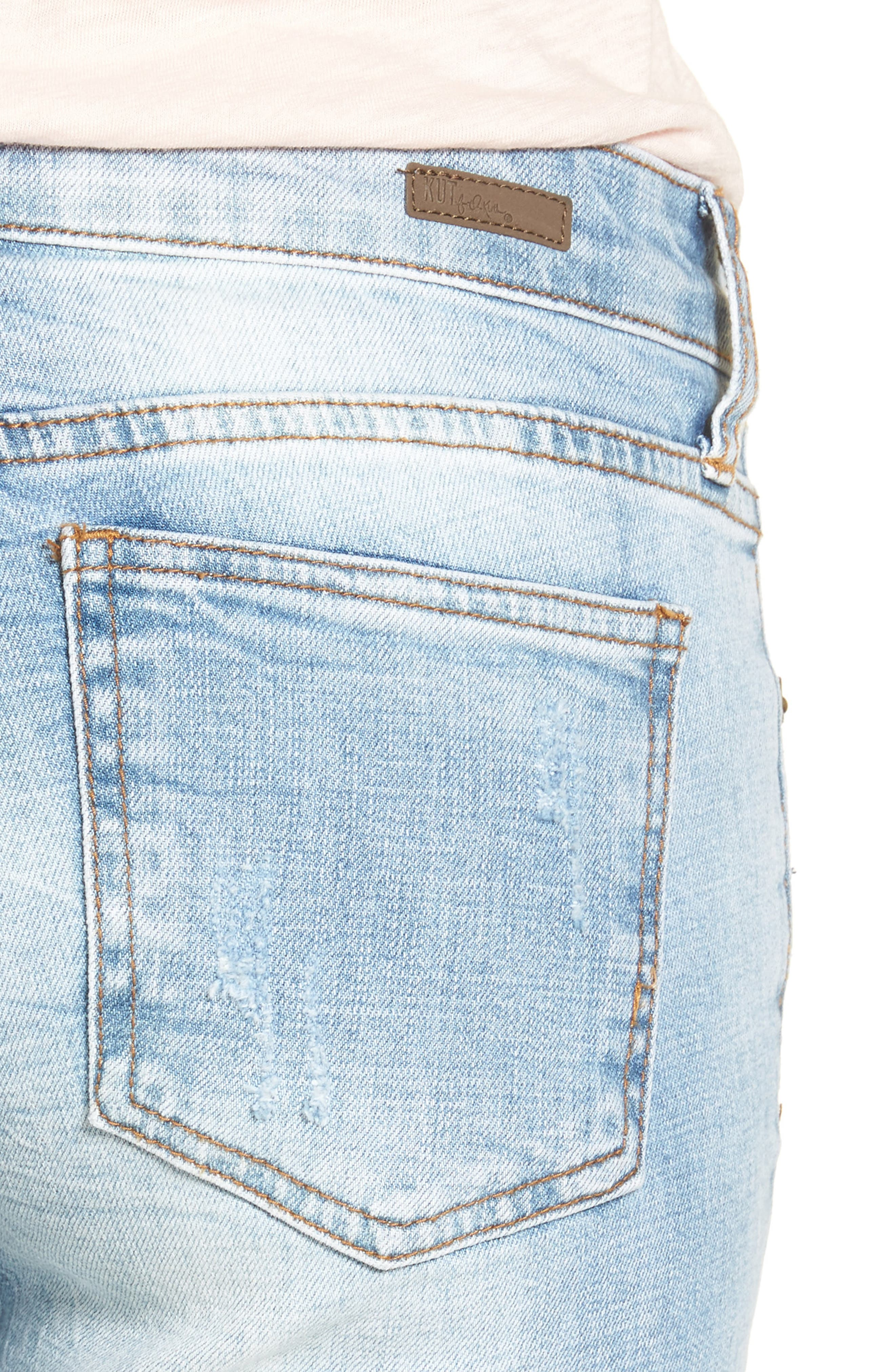 Alternate Image 4  - KUT from the Kloth Catherine Distressed Boyfriend Jeans (Hail)