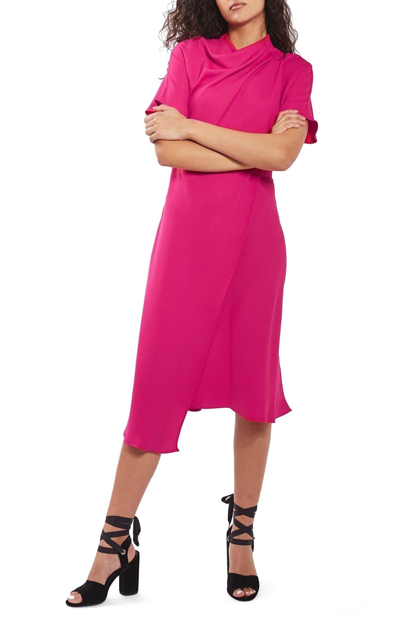 Alternate Image 1 Selected - Topshop Origami Drape Neck Midi Dress