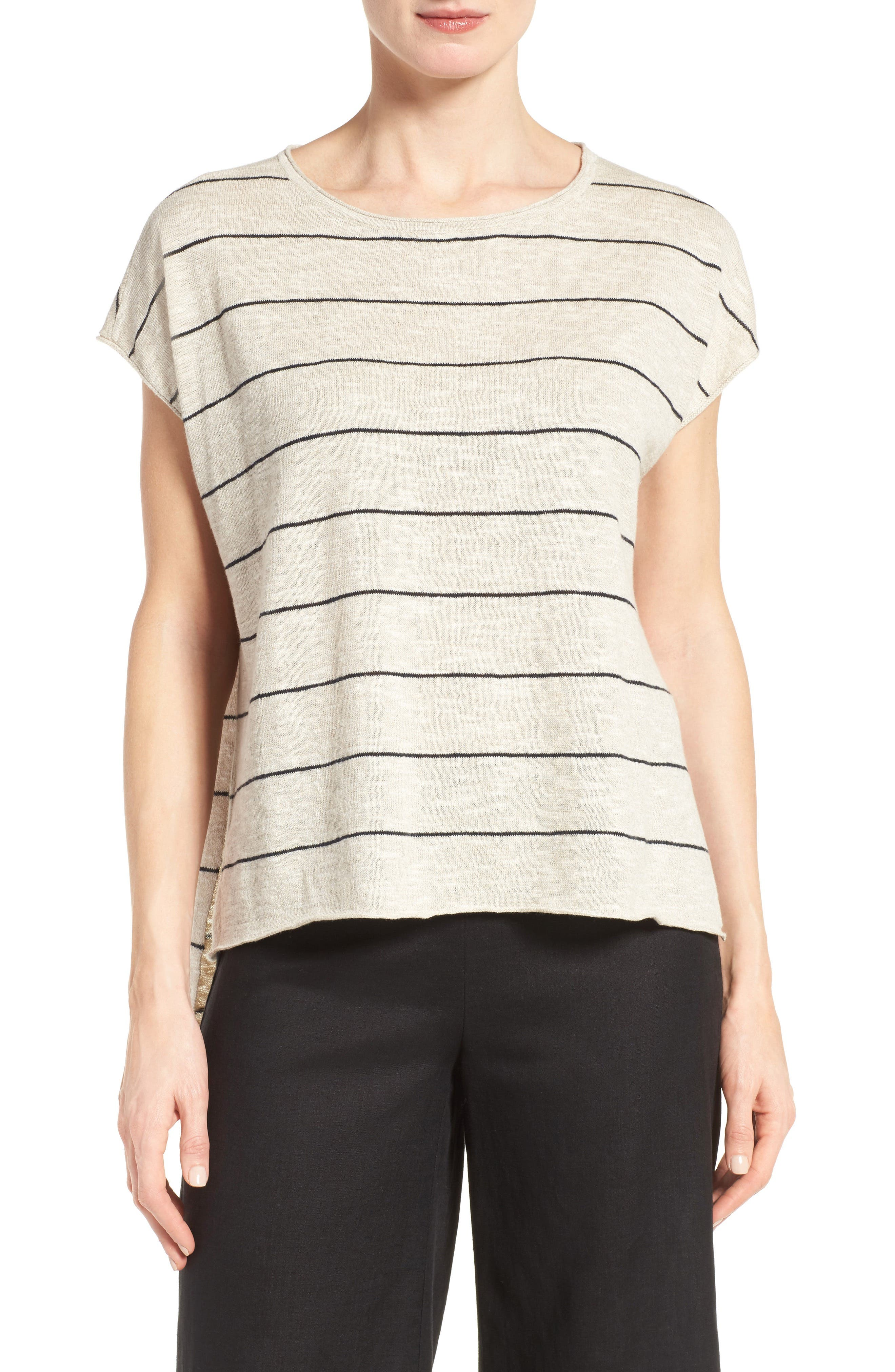 Eileen Fisher Stripe Linen & Cotton Boxy High/Low Top