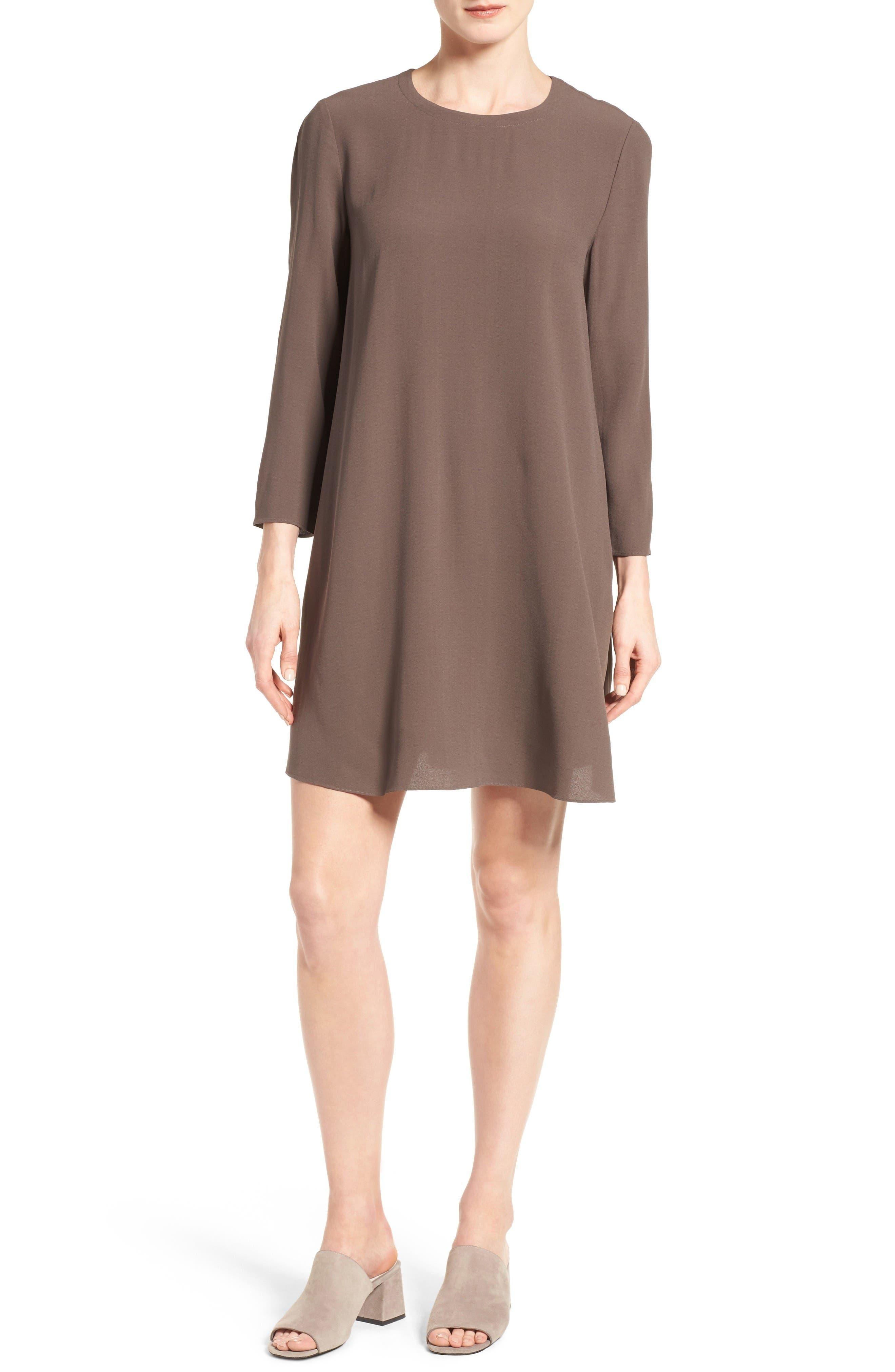 Eileen Fisher Silk Georgette Crepe Shift Dress (Regular & Petite)