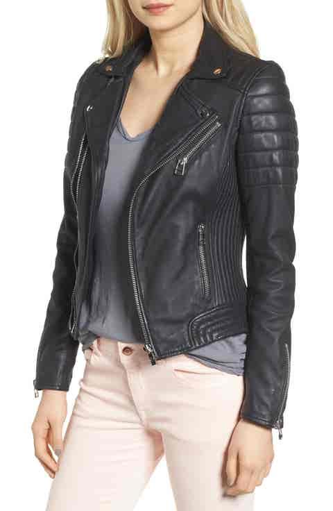 Goosecraft Dual Zip Leather Biker Jacket