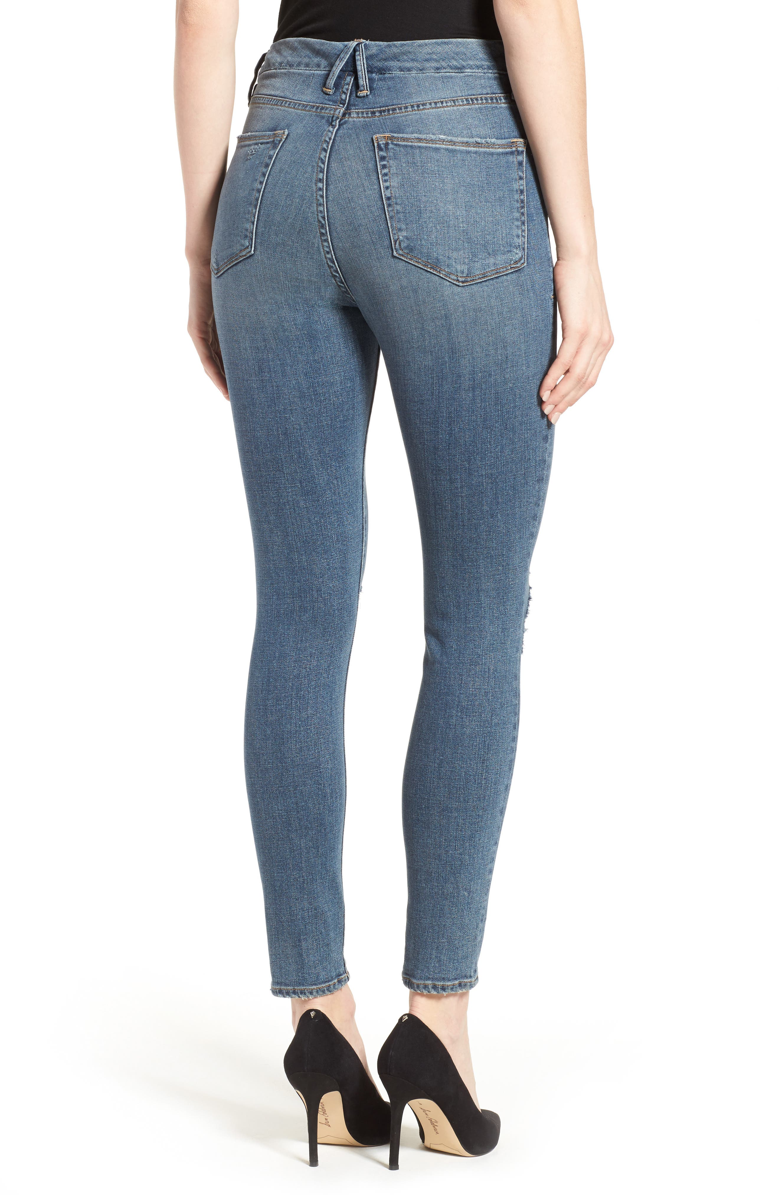 Alternate Image 3  - Good American Good Waist High Waist Ripped Skinny Jeans (Blue 026) (Extended Sizes)