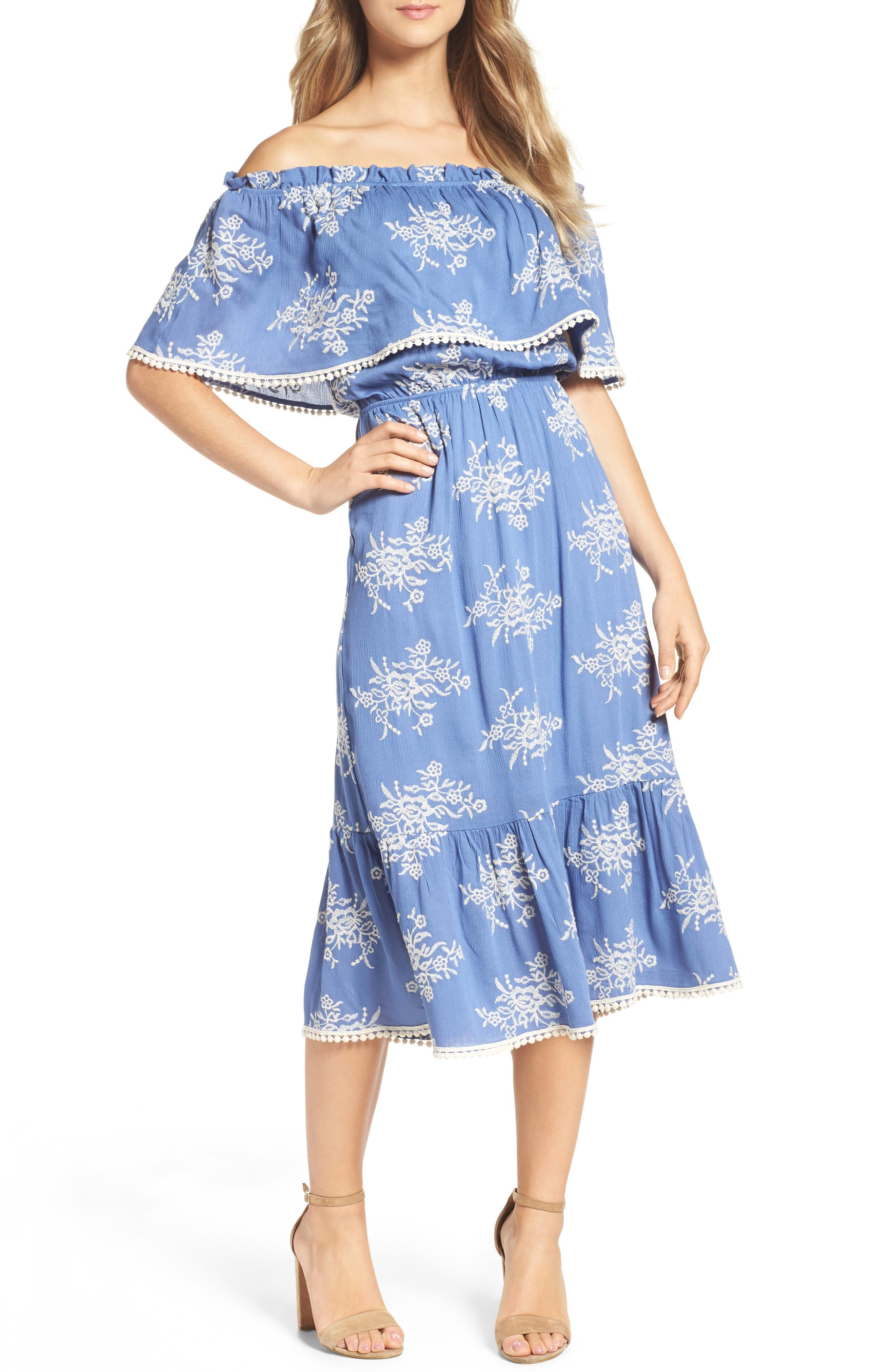 Alternate Image 1 Selected - Fraiche by J Off the Shoulder Midi Dress