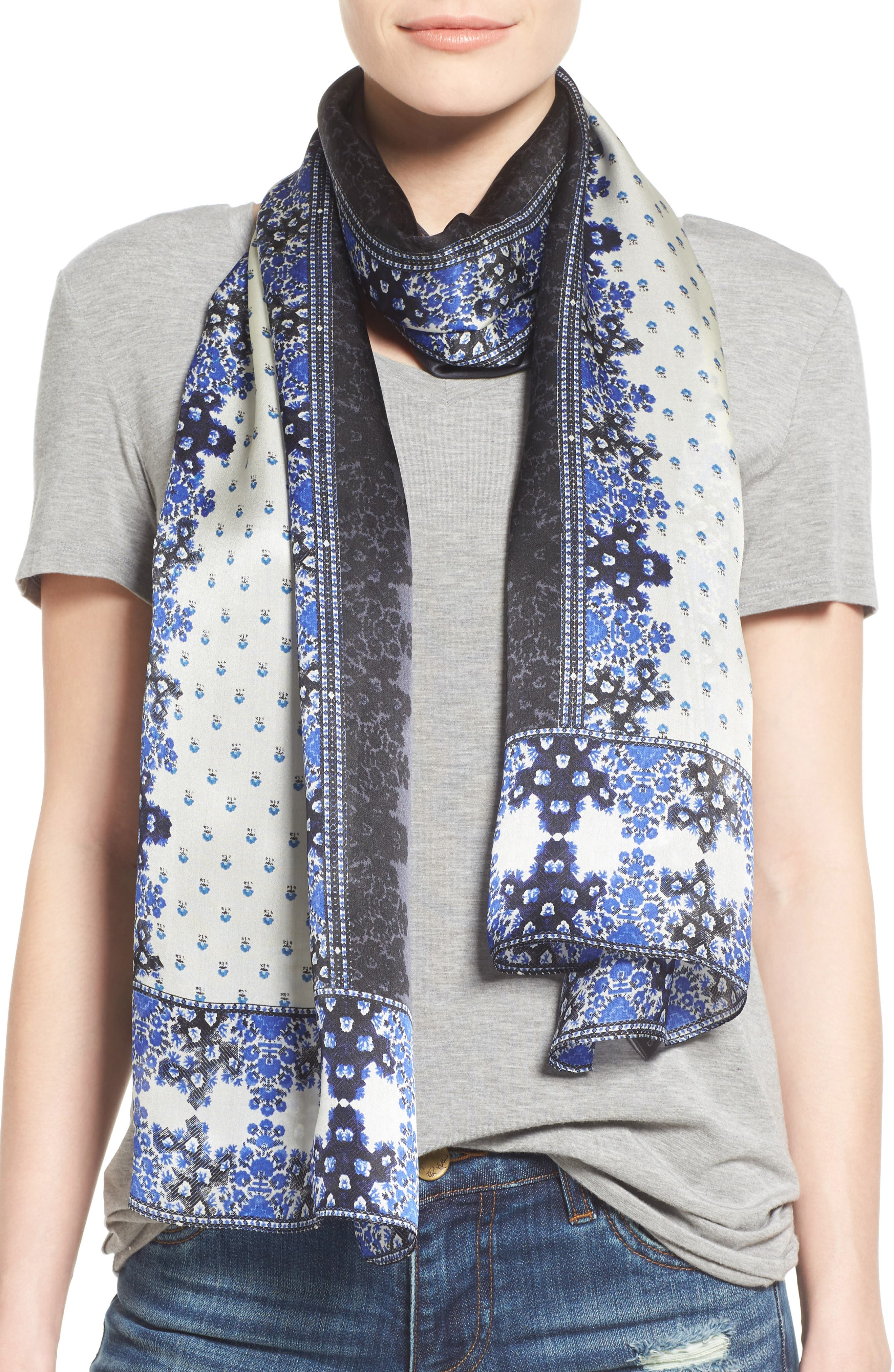 Main Image - Vince Camuto Floral Silk Scarf