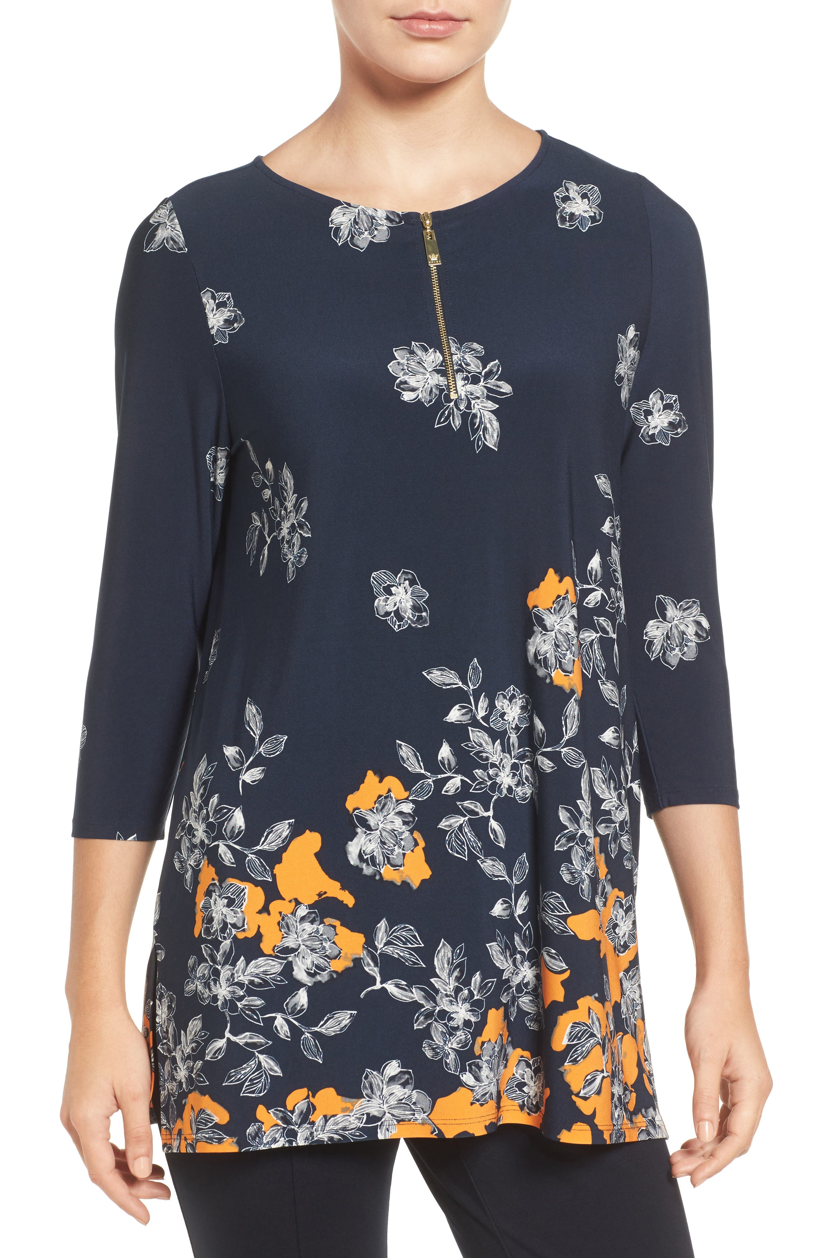 CHAUS Floral Border Print Top