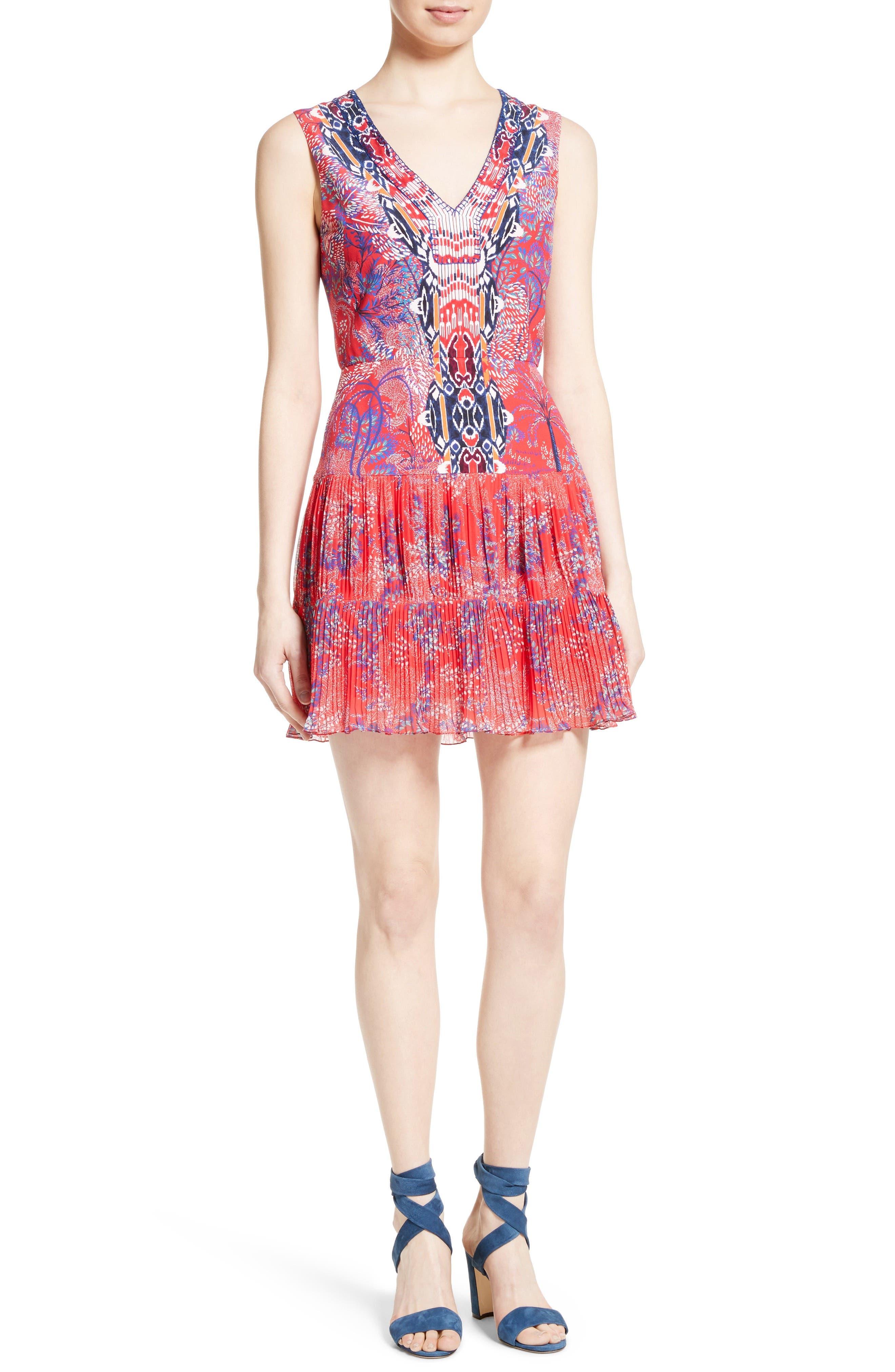 SALONI Elodie Pleated Print Silk Dress