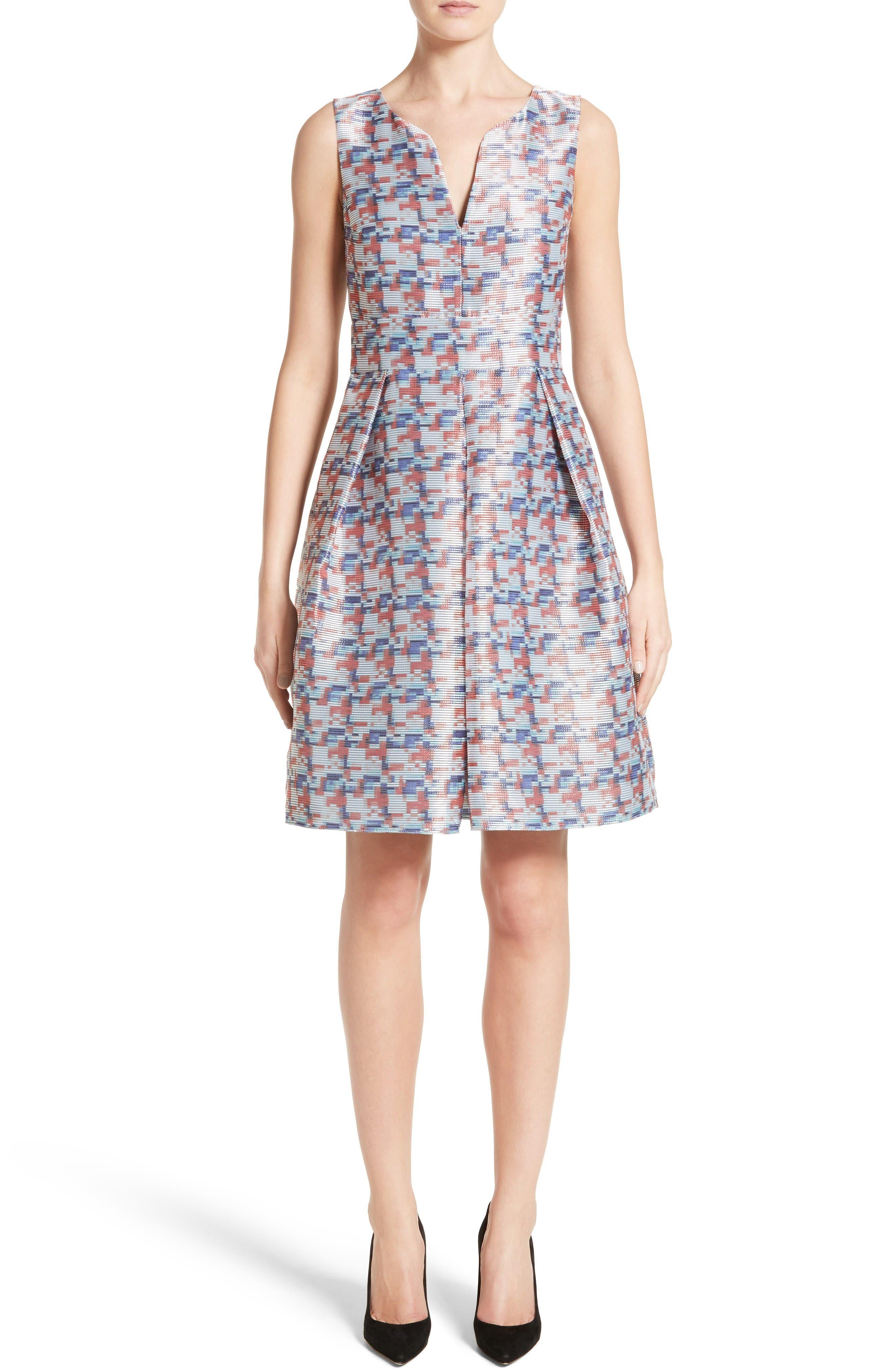 Armani Collezioni Pixel Print Fit & Flare Dress