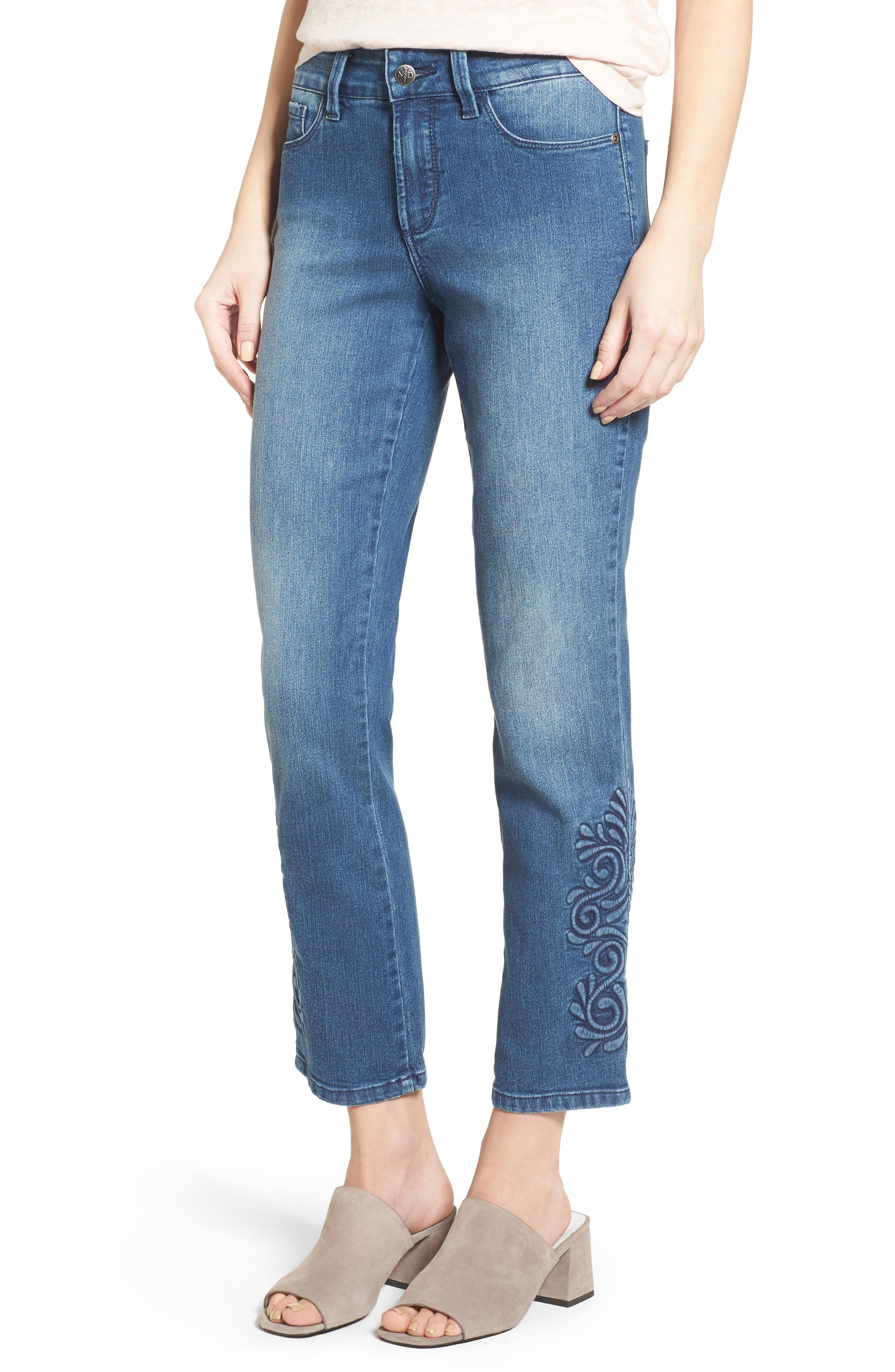 NYDJ Ira Embroidered Relaxed Ankle Jeans (Saint Germain)