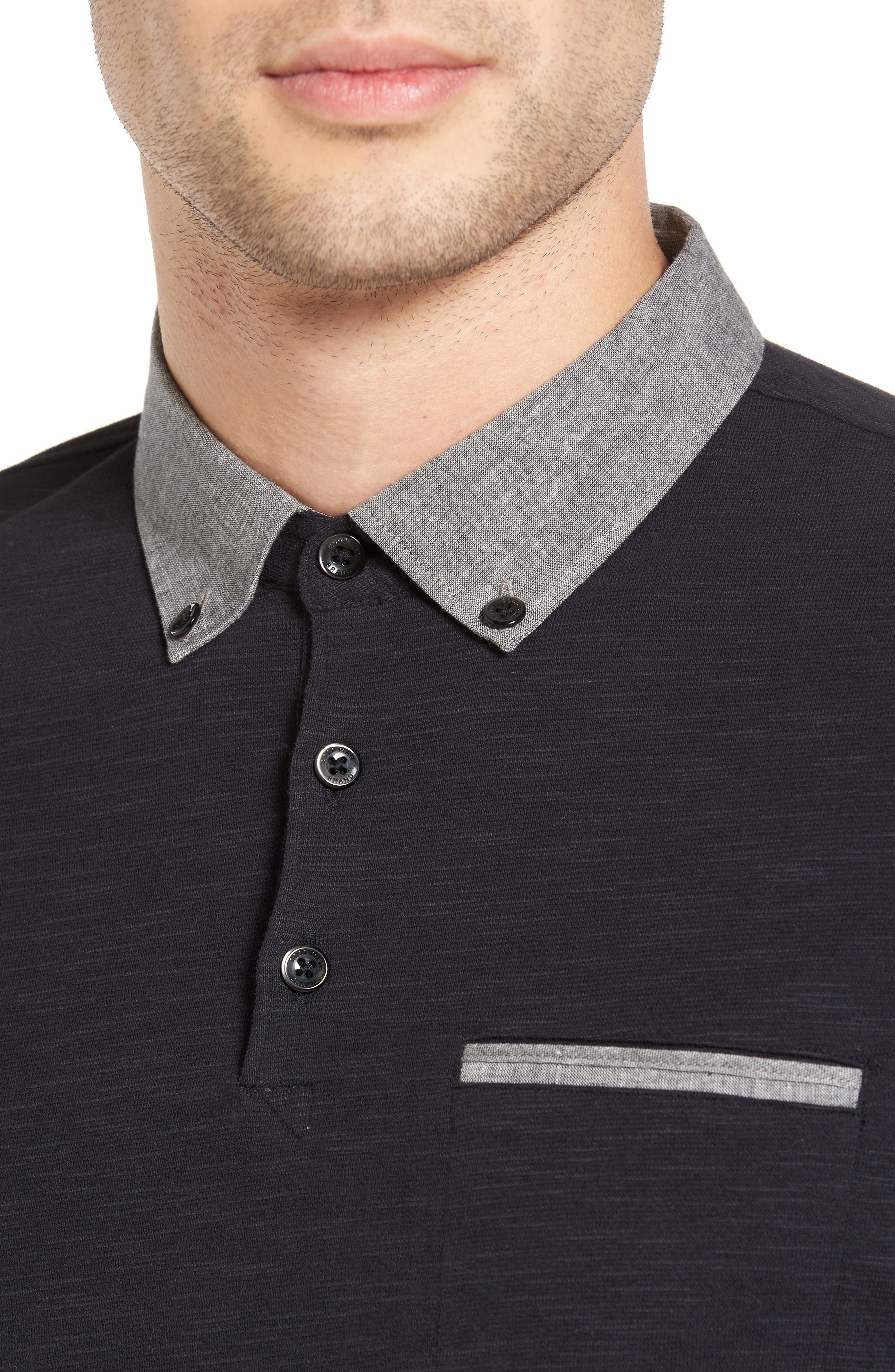 Alternate Image 4  - Good Man Brand Woven Collar Slub Jersey Polo