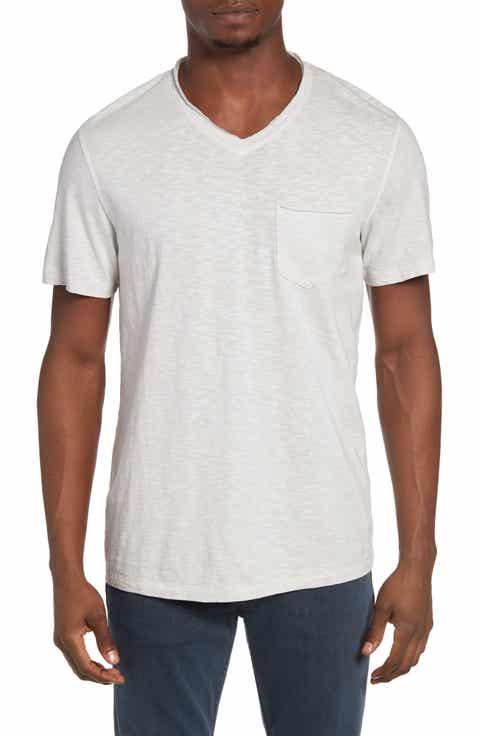 Treasure   Bond Trim Fit Slub V-Neck Pocket T-Shirt