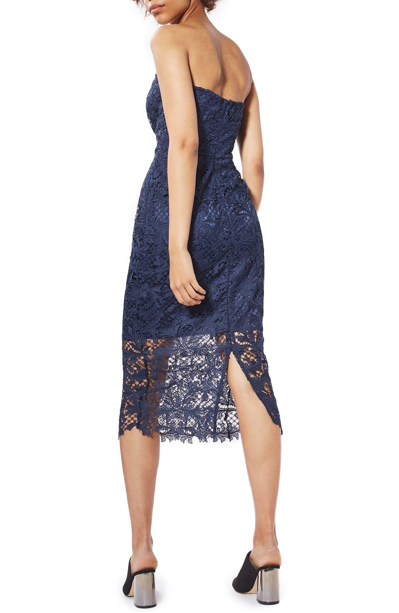 Alternate Image 3  - Topshop Strapless Lace Midi Dress