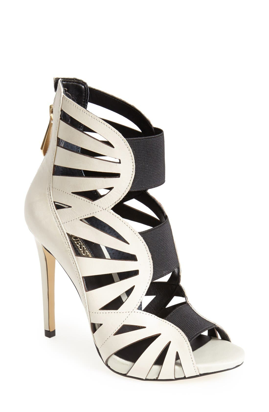 Alternate Image 1 Selected - GUESS 'Aela' Leather Open Front Sandal (Women)