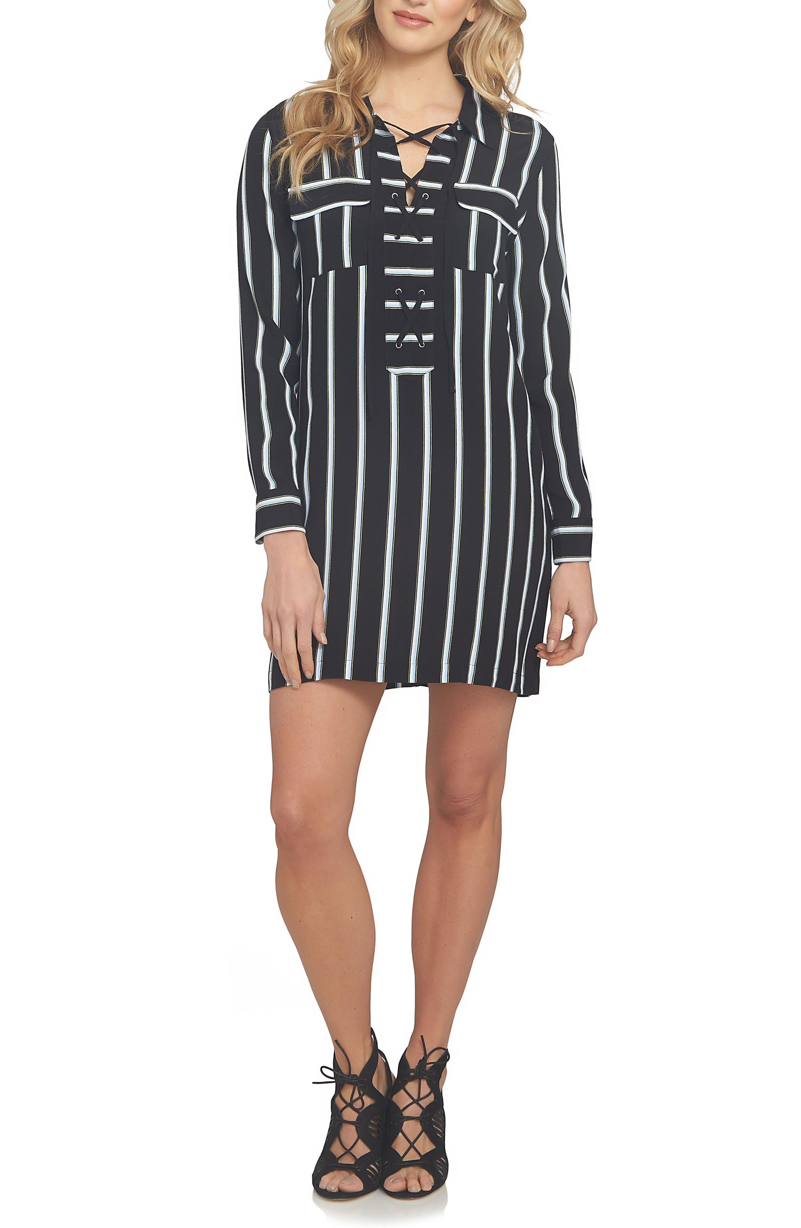 1.STATE Stripe Lace-Up Shirtdress