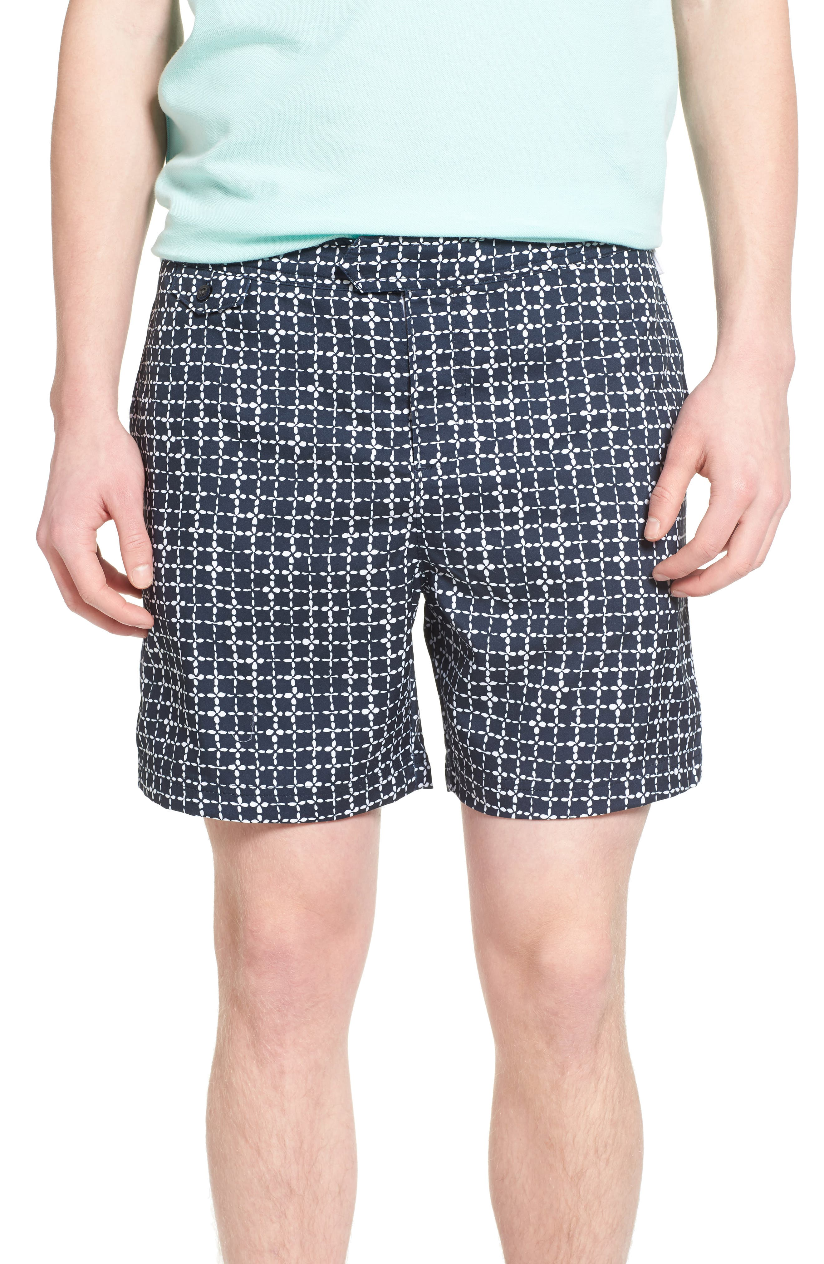 ORIGINAL PENGUIN Floral Grid Volley Swim Trunks