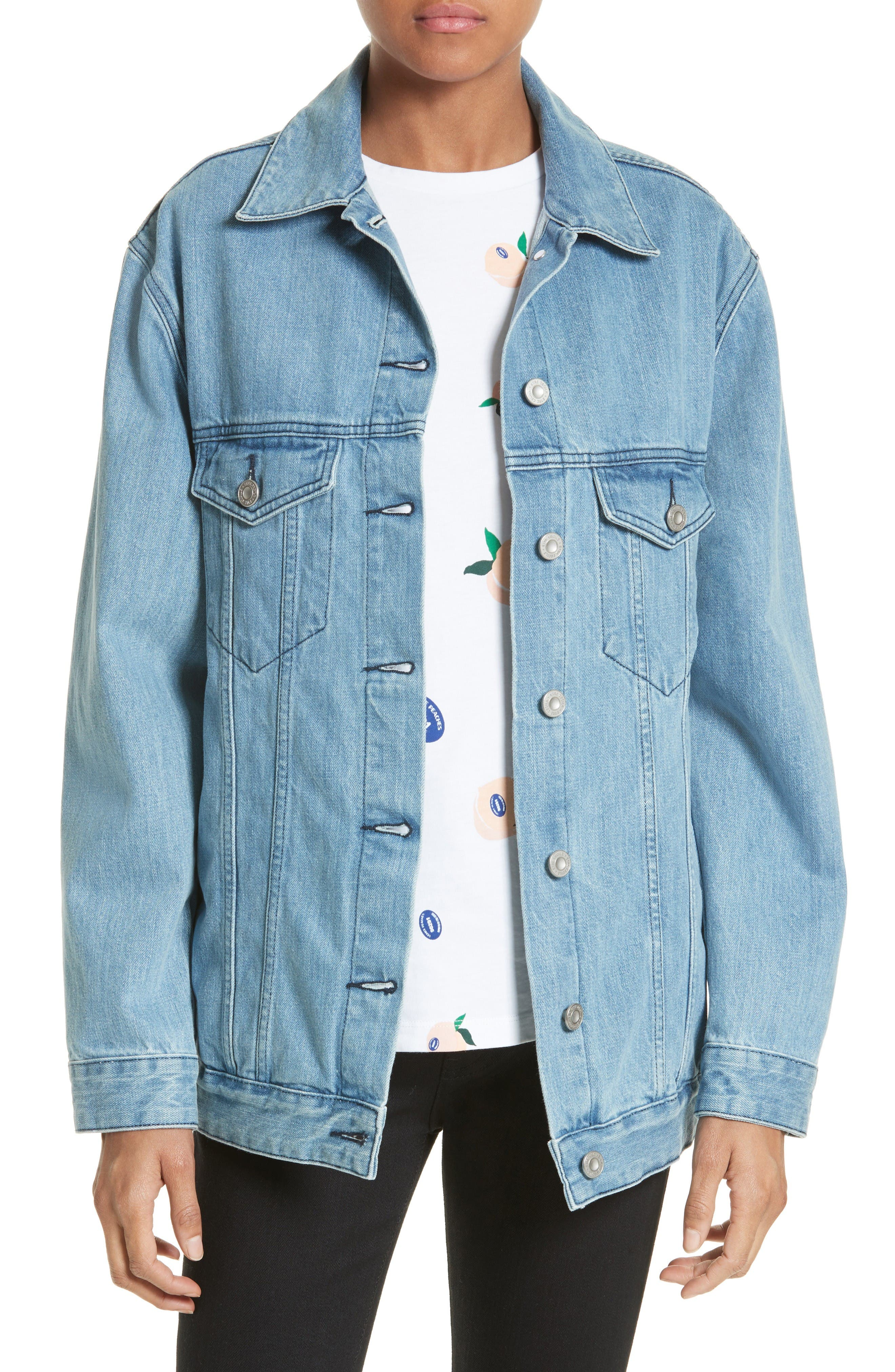 Alternate Image 1 Selected - être cécile Venice Peaches Oversize Denim Jacket