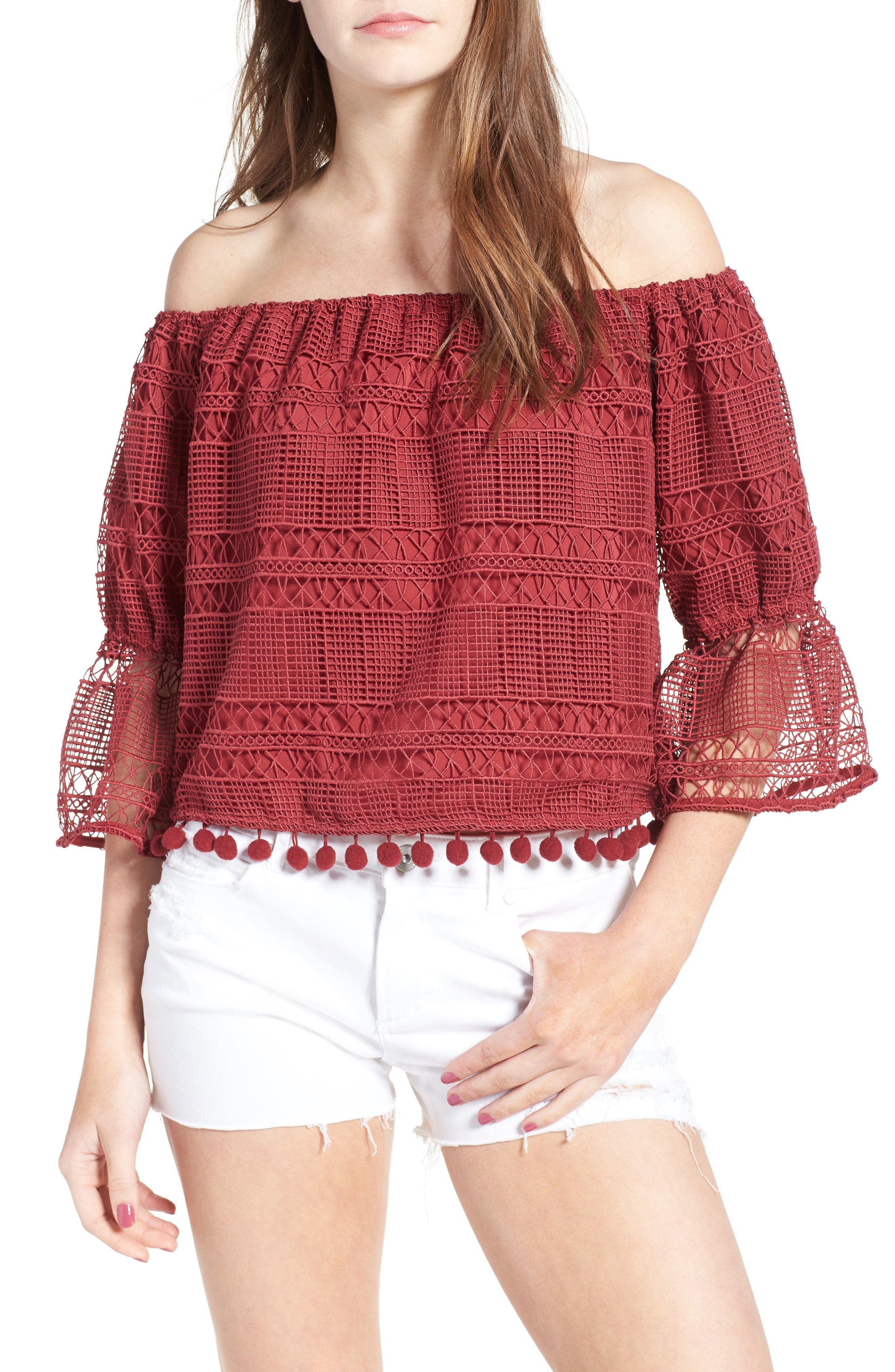 Alternate Image 1 Selected - Tularosa Alexa Off the Shoulder Lace Top