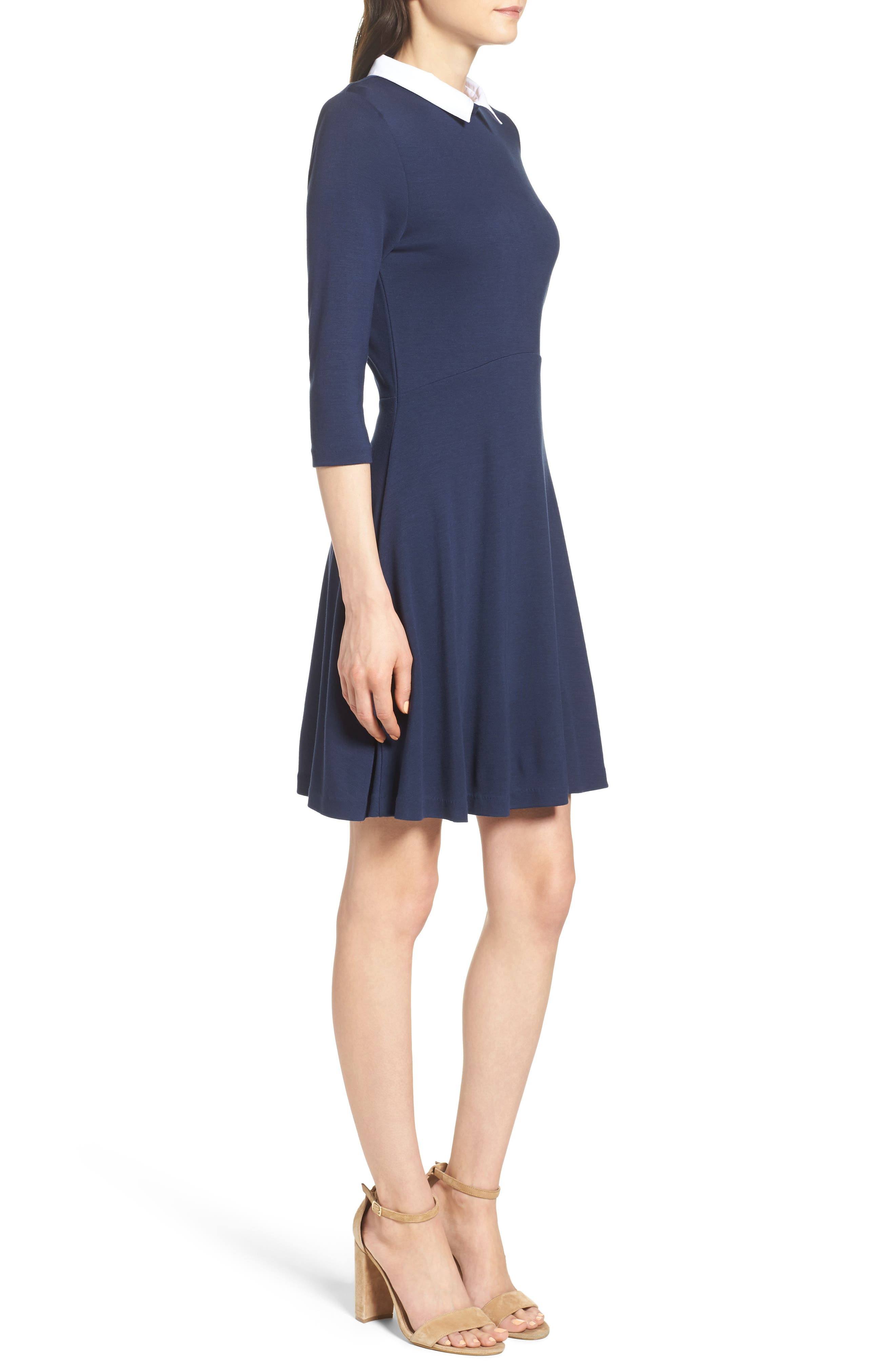 Alternate Image 3  - French Connection 'Fast Fresh' Collared Jersey Fit & Flare Dress