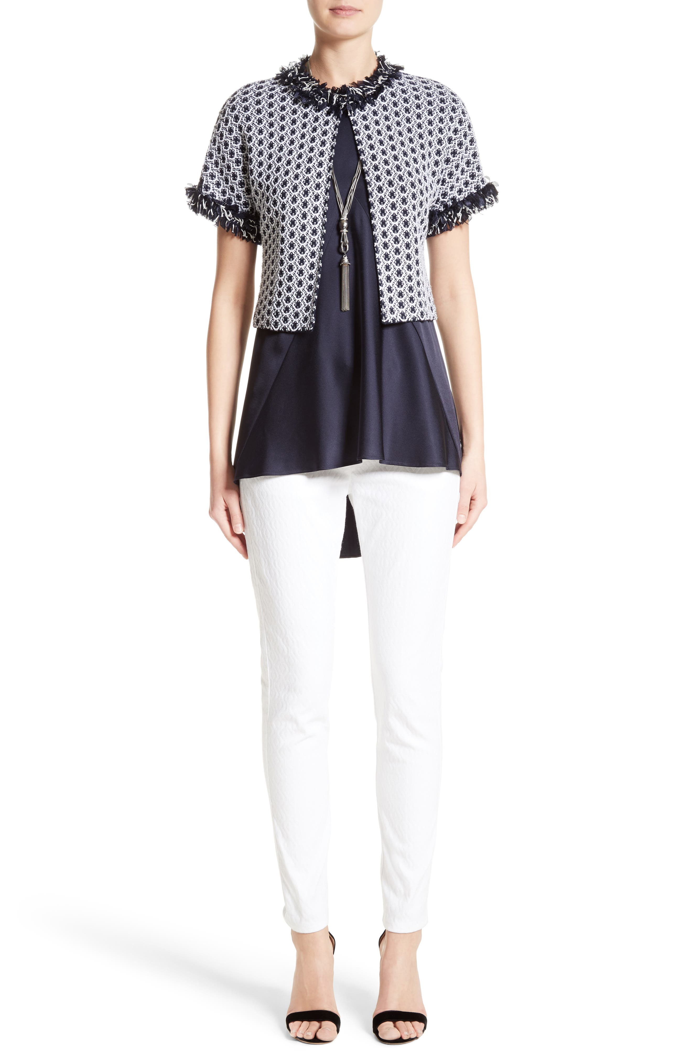 St. John Collection Jacket, Top & Jeans Outfit with Accessories