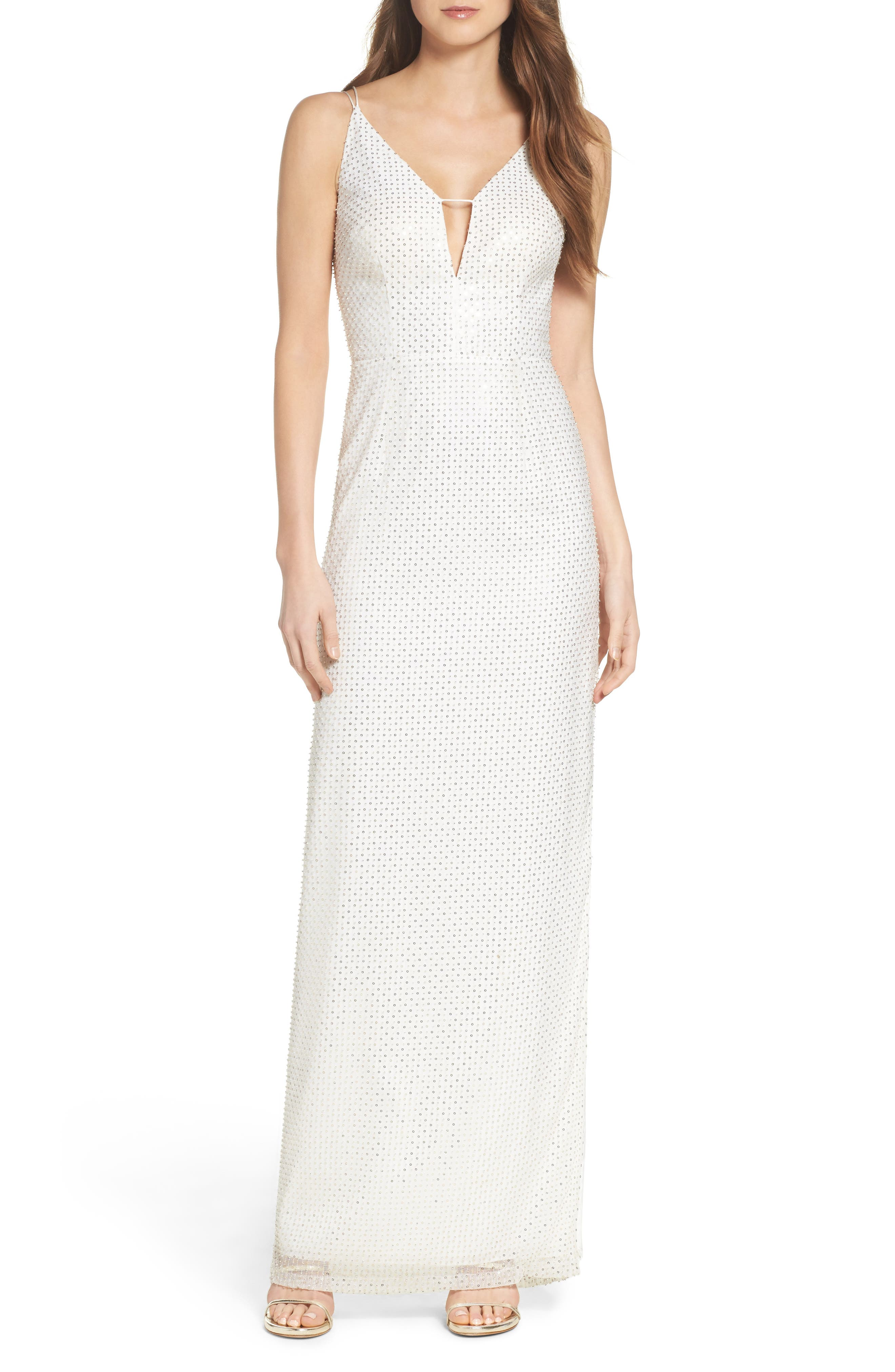 Main Image - Aidan by Aidan Mattox Embellished Column Dress