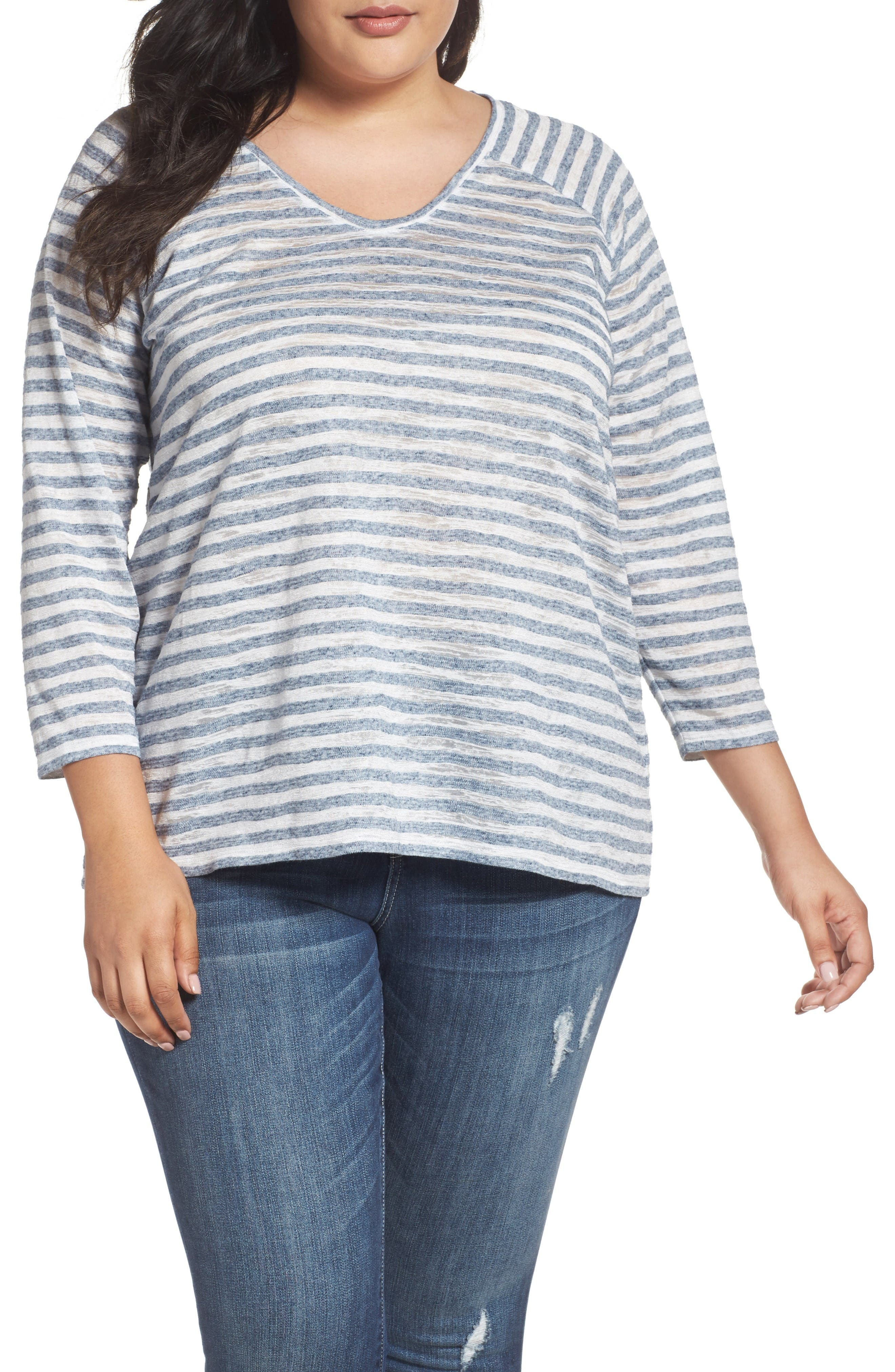 Two by Vince Camuto Sheer Stripe Raglan Tee (Plus Size)