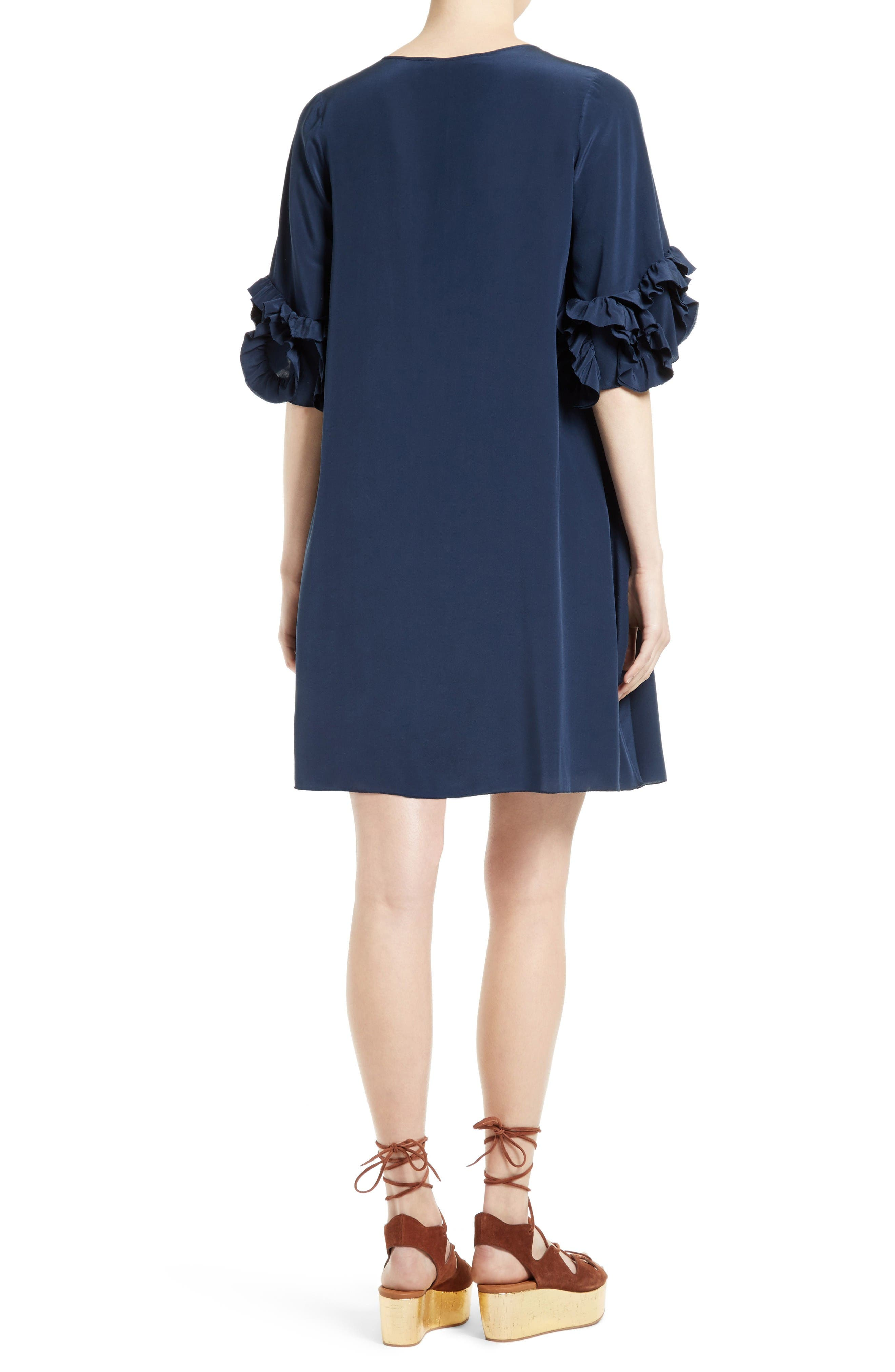 Alternate Image 2  - See by Chloé Ruffle Silk Shift Dress