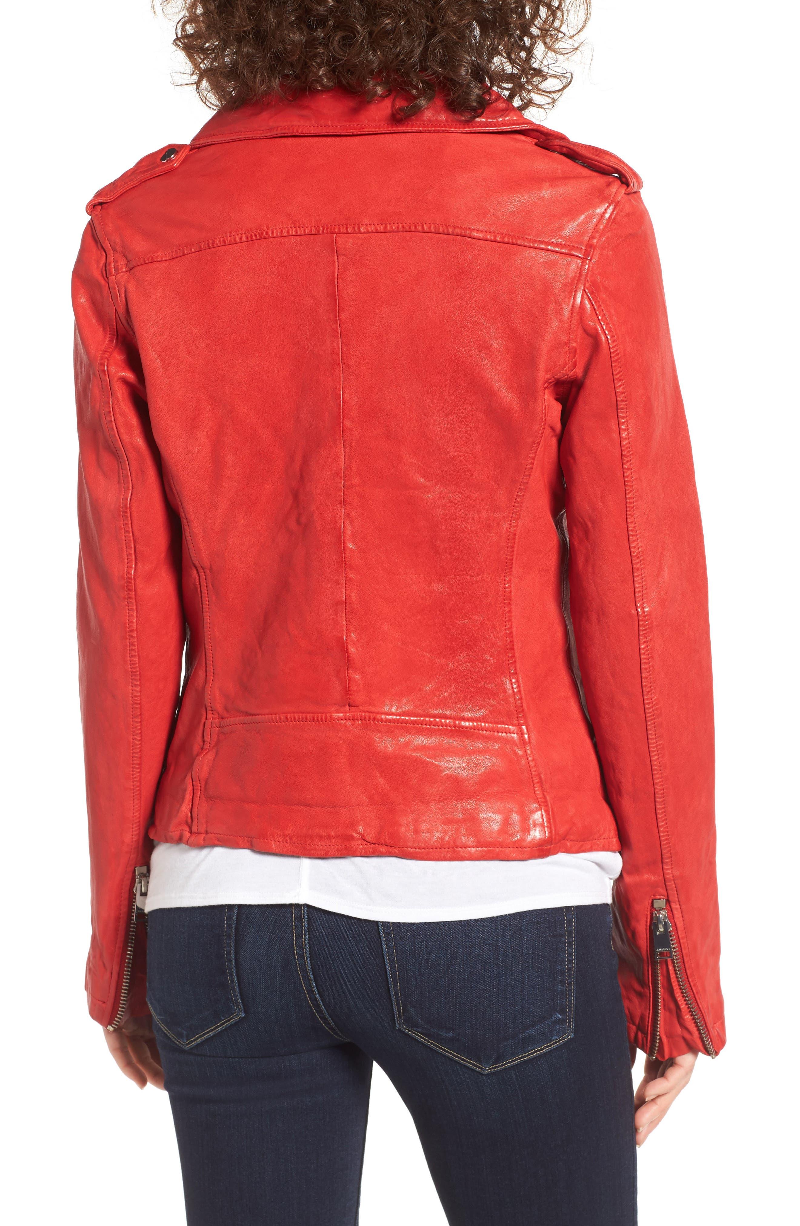 Alternate Image 2  - LAMARQUE Washed Lambskin Leather Moto Jacket