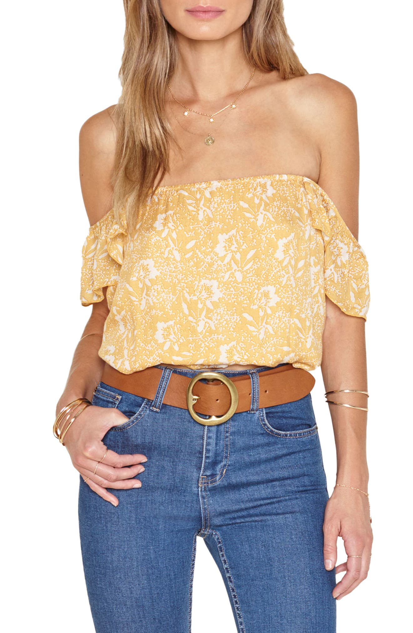 Amuse Society Mariposa Off the Shoulder Woven Top